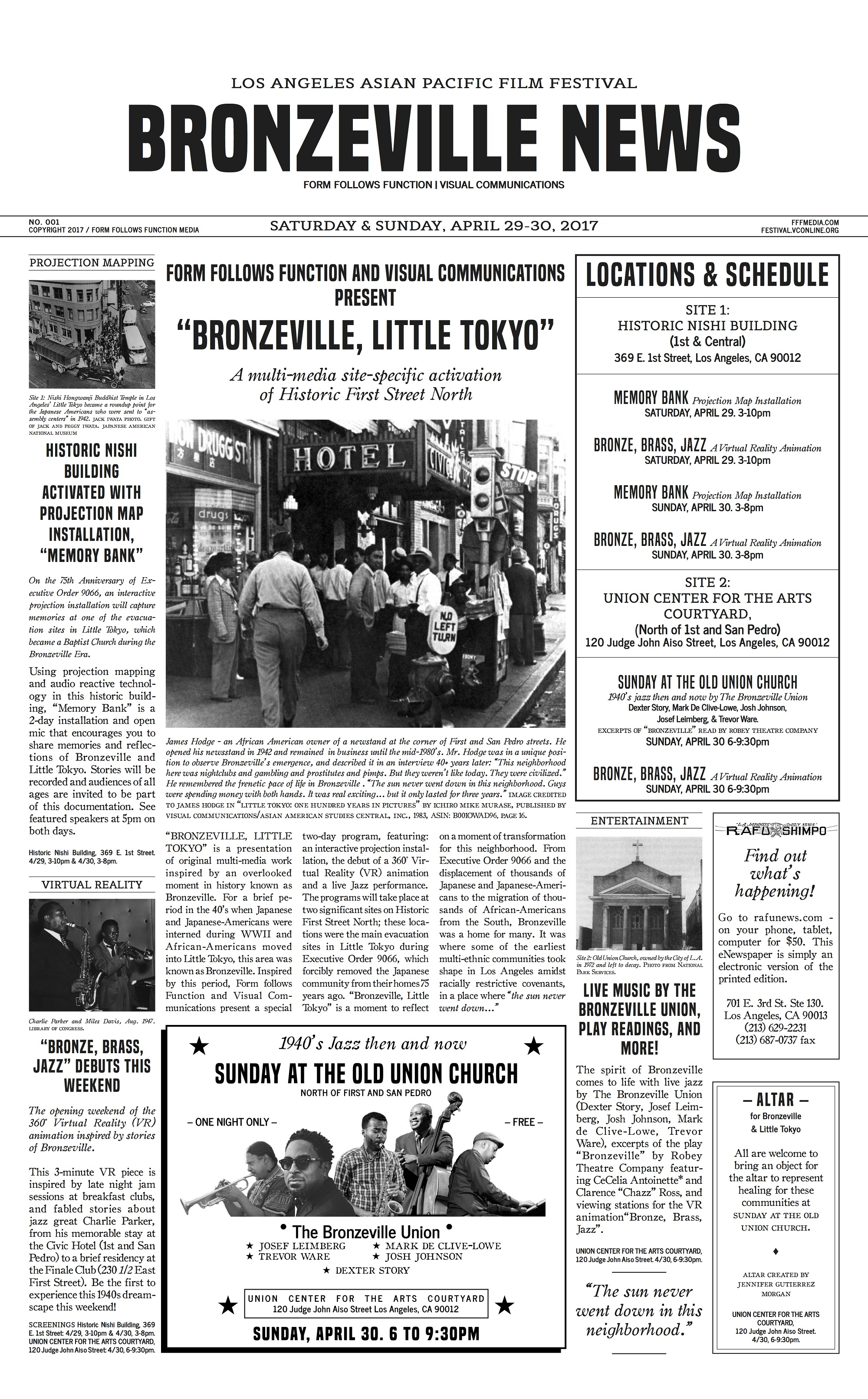 Front page of Bronzeville, Little Tokyo program art, a newspaper collaboration with Rafu Shimpo.