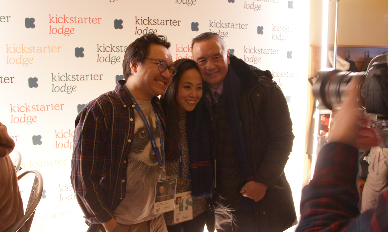 Kickstarter's David Ninh with Kollaboration's Christine Minji Chang and David Magdael. (Photo: Abraham Ferrer/Visual Communications Photographic Archive)
