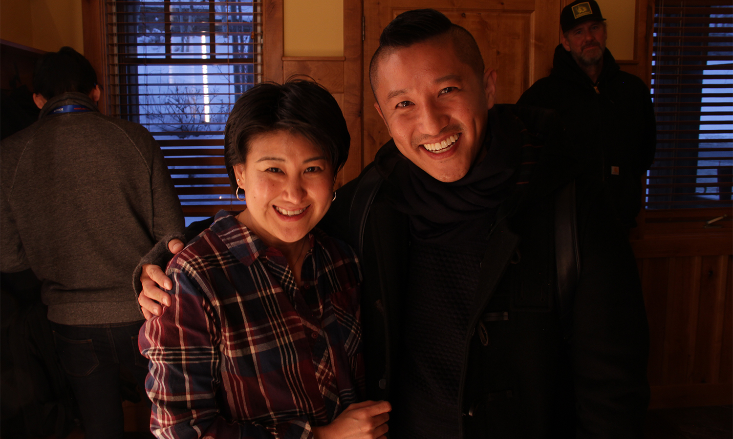CAPE's Michelle Sugihara bids a fond farewell to one of the many guests of a successful Asian Pacific Filmmakers Experience in Park City. (Photo: Abraham Ferrer/Visual Communications Photographic Archive)