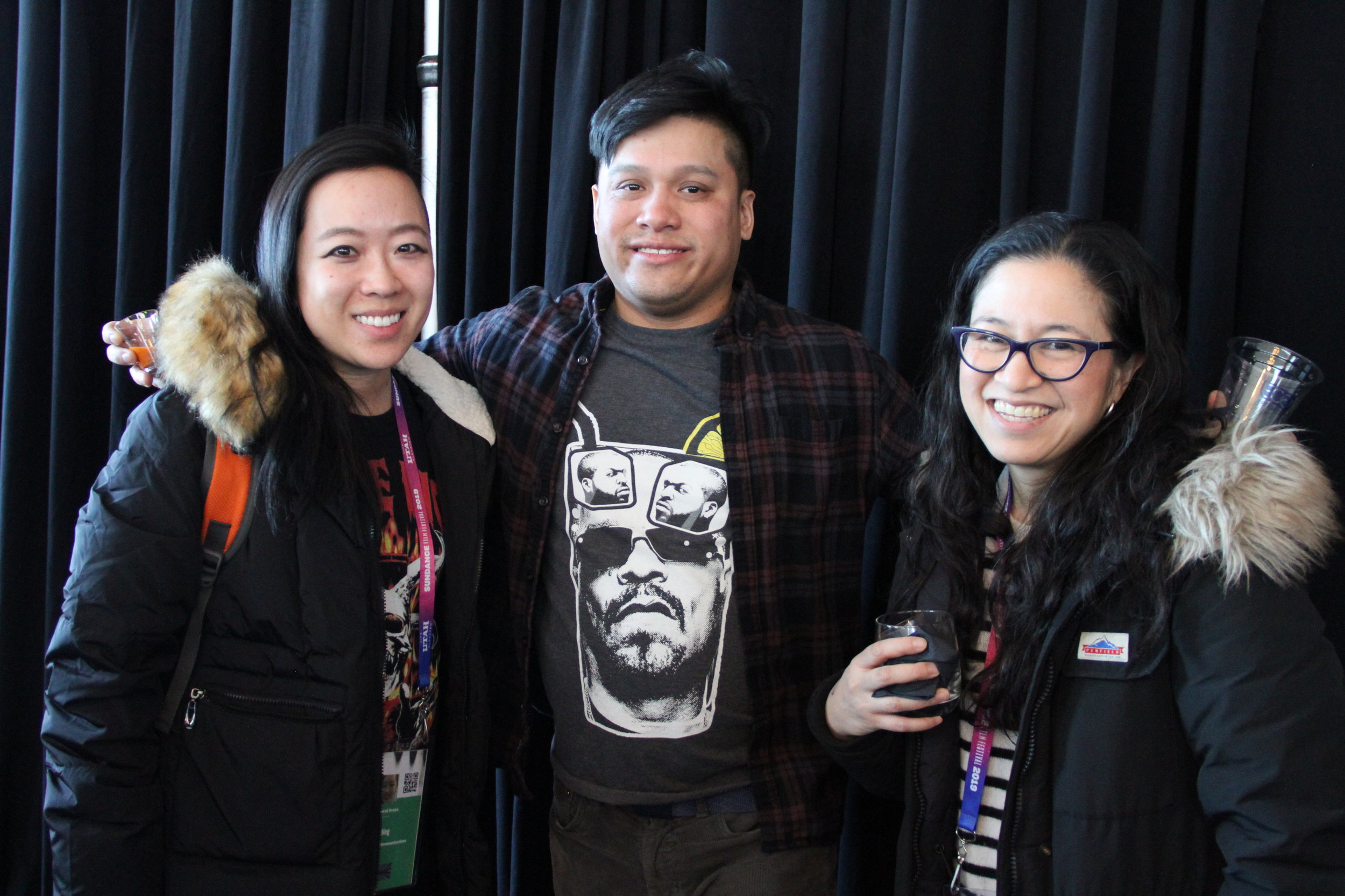 At the RYOT & VICE Studios Lounge, documentary/transmedia filmmaker Sue Ding greets Kenny Penguin and journalist Ann Marie Baldonado. (Photo: Abraham Ferrer/Visual Communications Photographic Archive)