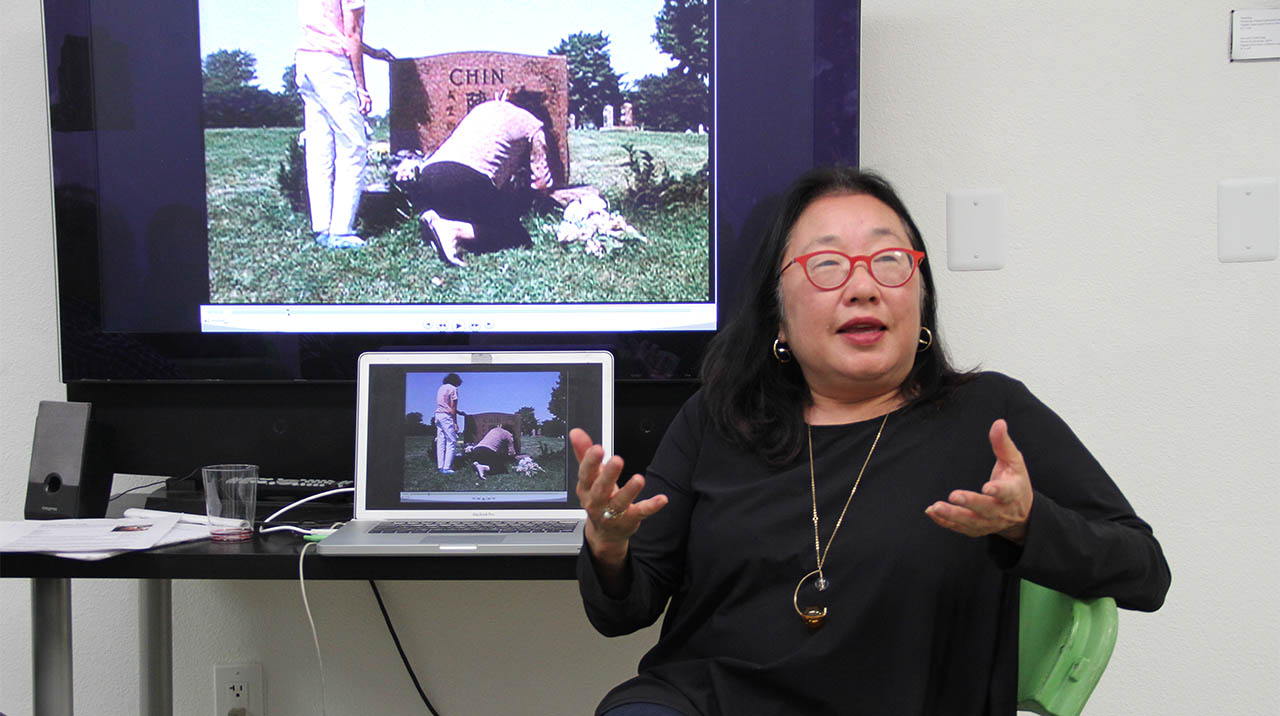 Documentary filmmaker Renee Tajima-Peña talks about her film career during the re-launched artists' talk series MONDAY NITE VC, part of the pop-up series CENTERING THE MASSES. (Photo: Abraham Ferrer/Visual Communications Photographic Archive)