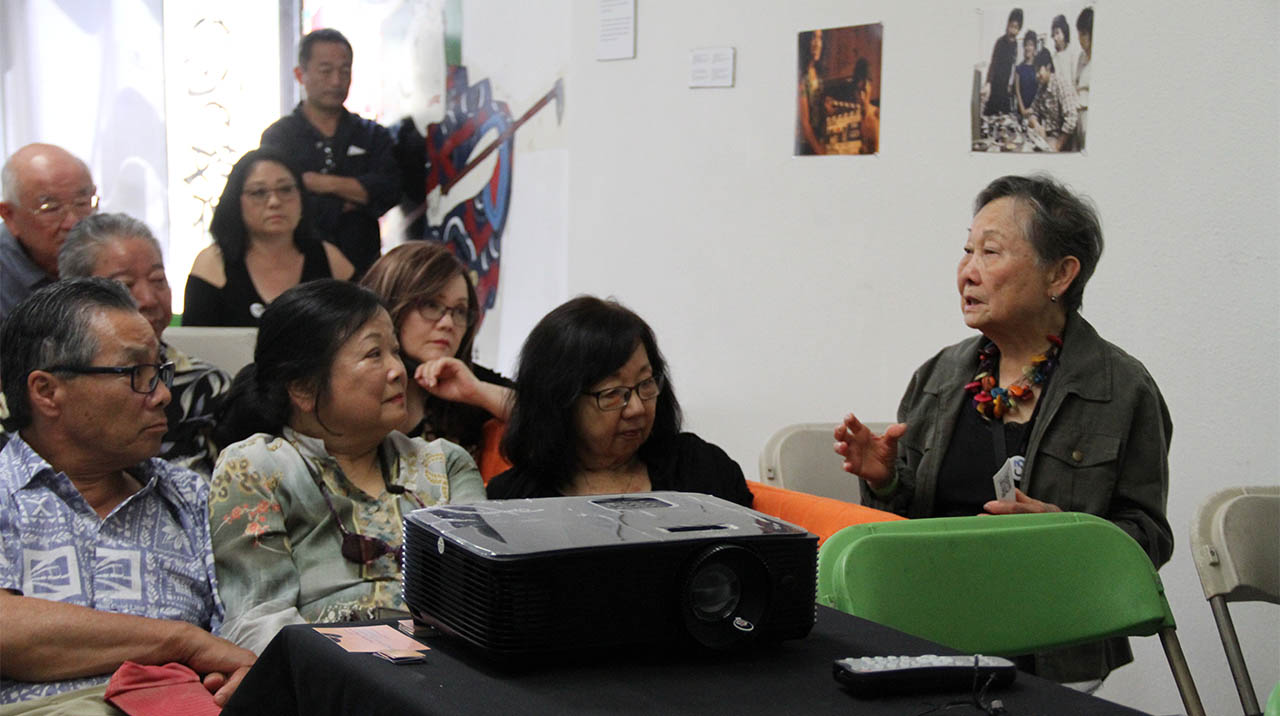 Digital Histories filmmaker Fran Ito shares stories during the making of her film POPO as part of the program REMEMBER WHEN IT WAS LIKE THIS? at 341FSN. (Photo: Abraham Ferrer/Visual Communications Photographic Archive)