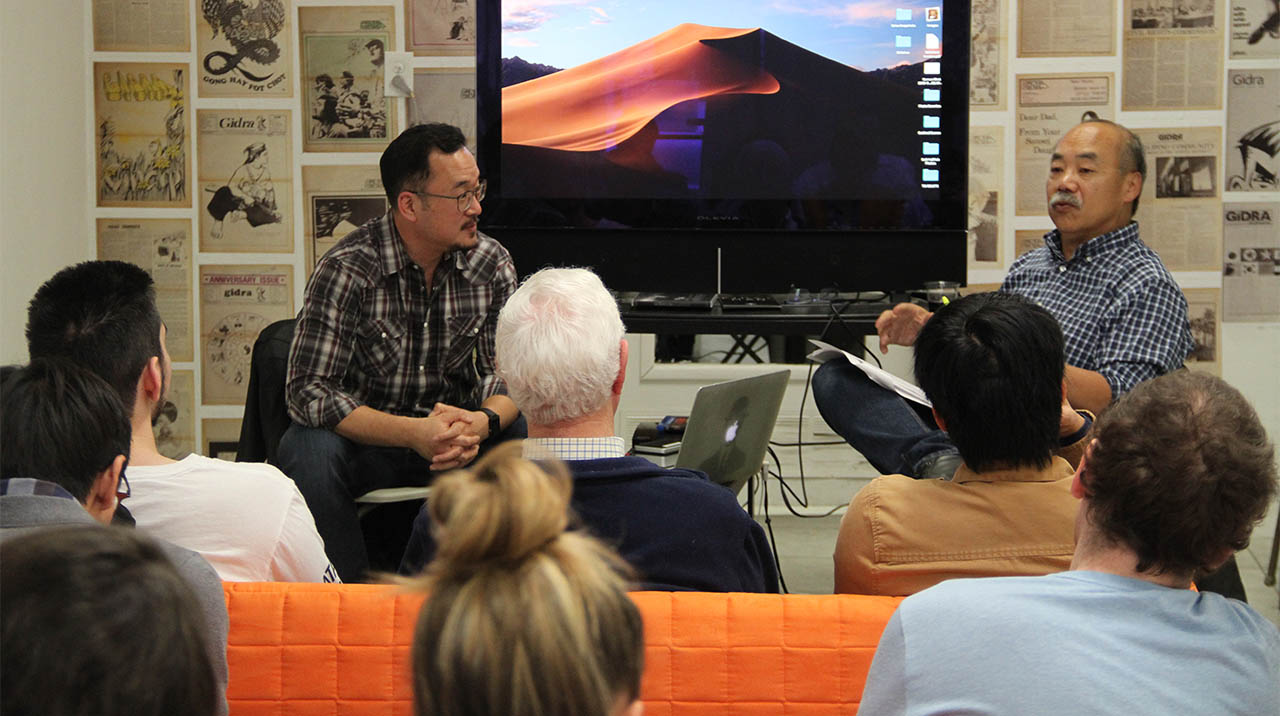 Walt Louie welcomes multiple Academy Award-nominated film editor Harry Yoon as part of the CENTERING THE MASSES mini-series MONDAY NITE VC: RELOADED. (Photo: Abraham Ferrer/Visual Communications Photographic Archive)
