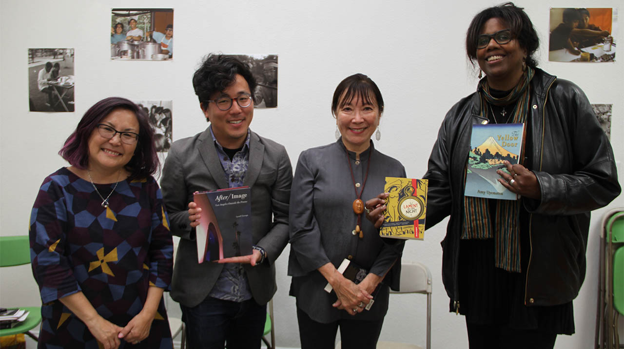 Naomi Hirahara greets the panelist of STEPPING OUT, the final installment of BULL & PUPPY (from left): Andrew Way Leong, Amy Uyematsu, and Lynell George. (Photo: Abraham Ferrer/Visual Communications Photographic Archive)