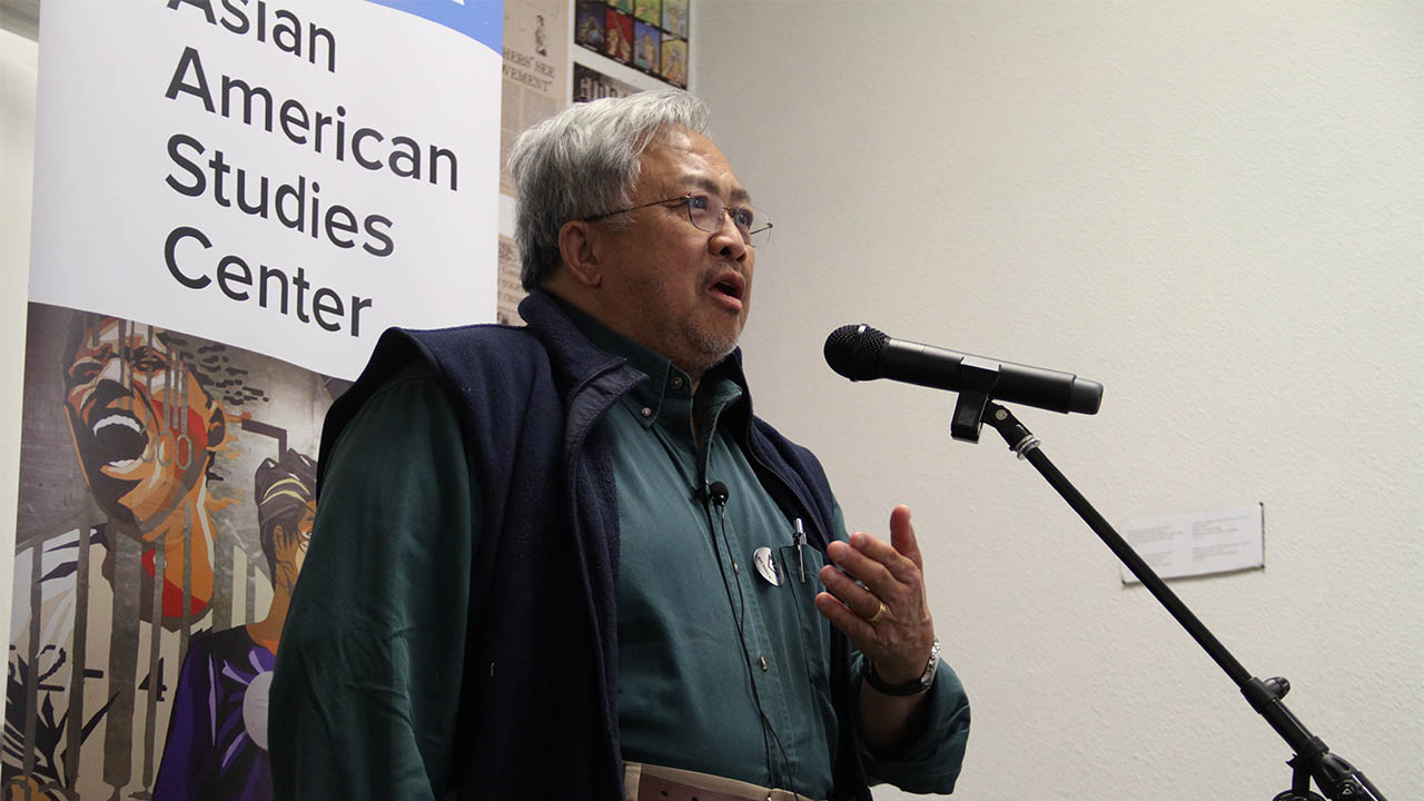 Longtime activist and VC lifer Casimiro Tolentino recounts his experiences at the UCLA Asian American Studies Center as part of the MOUNTAIN MOVERS book launch at 341FSN. (Photo: Abraham Ferrer/Visual Communications Photographic Archive)