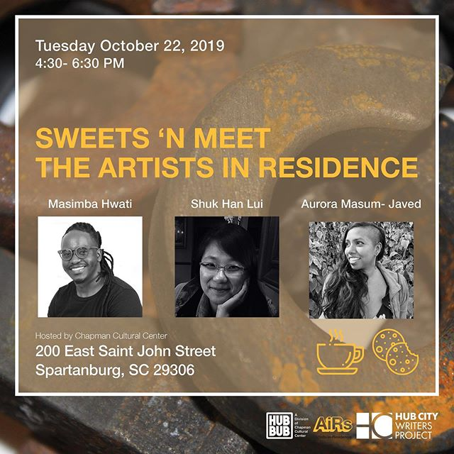 Don't miss your chance to meet Spartanburg's newest Artists-in-Residence! Hub City Writers Project Writer-in-Residence will also be in attendance!  _______  #spartanarts #hubbub #home #onespartanburg#chapmanculturalcenter#art#music #spartanburg #lovetheartswhereyoulive #spartanburgsc #artists #seeingspartanburg #community #placemaking #creativeplacemaking #localartsagency #seespartanburgrise #publicarts #visitspartanburg  #culturaldistrict #publicart