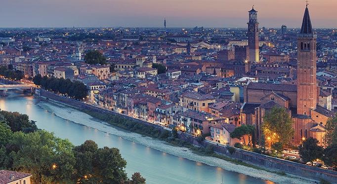 Verona and the Adige River at dusk.