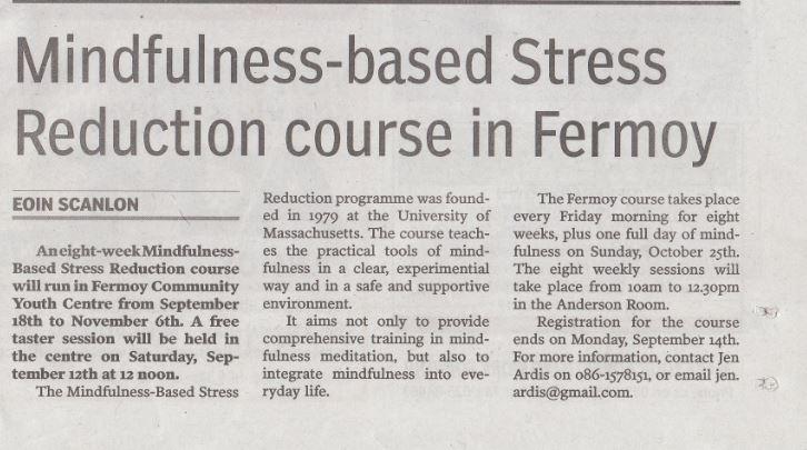 Blue Heron Mindfulness in the media (The Avondhu, Co. Cork)