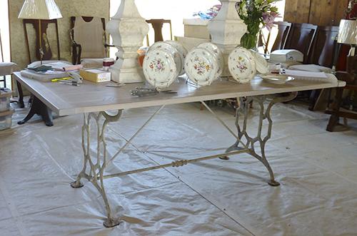 Antique Iron Base Leg Dinning Table.jpg