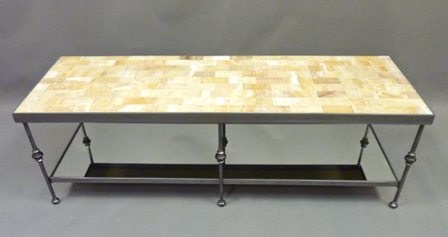 Skinny Legged Coffee Table with Yellow Onyx Tile Top and Mirror Shelf.jpg