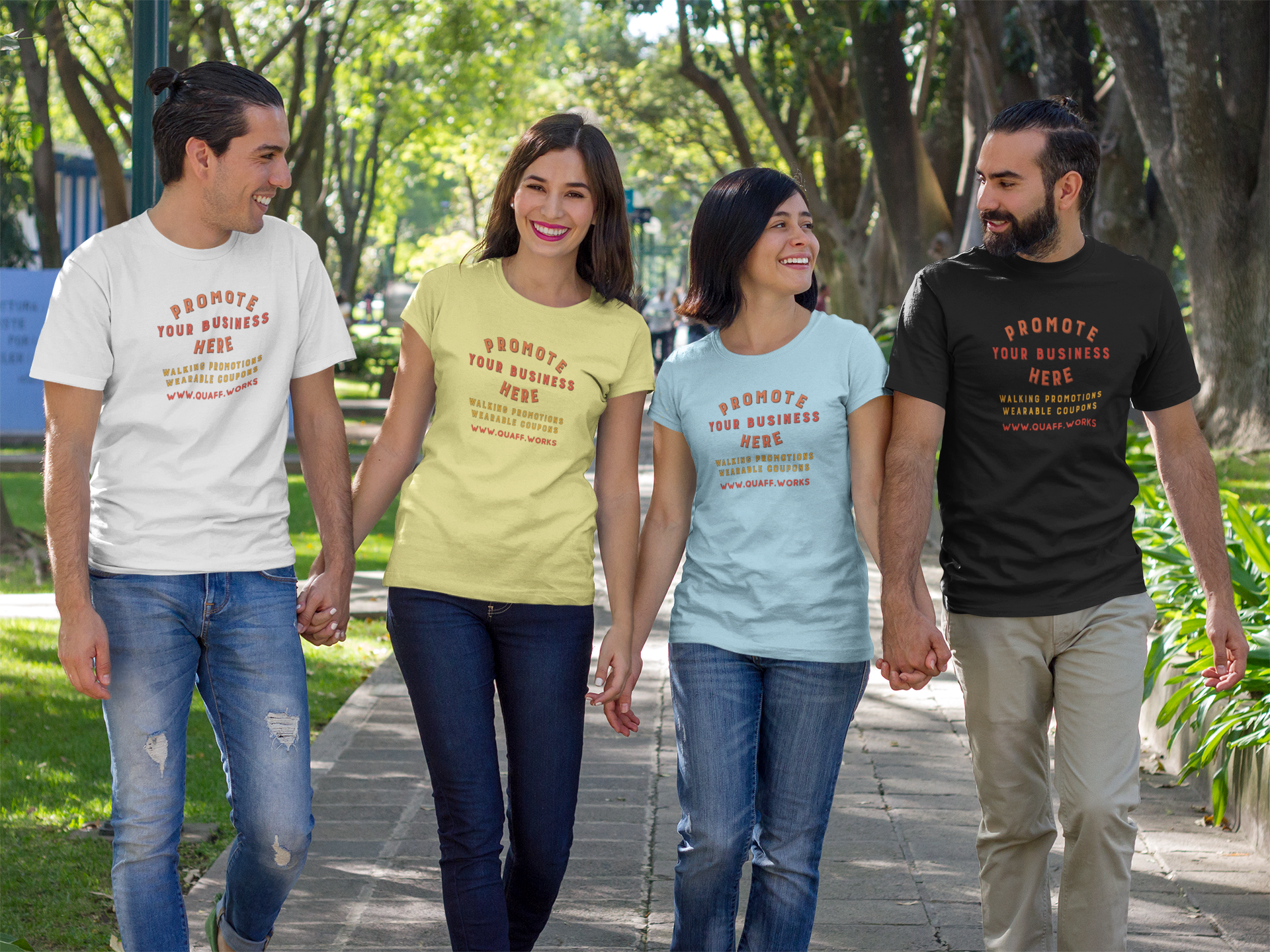 group-of-two-couples-walking-and-talking-at-a-park-while-wearing-different-t-shirts-template-a15685.png