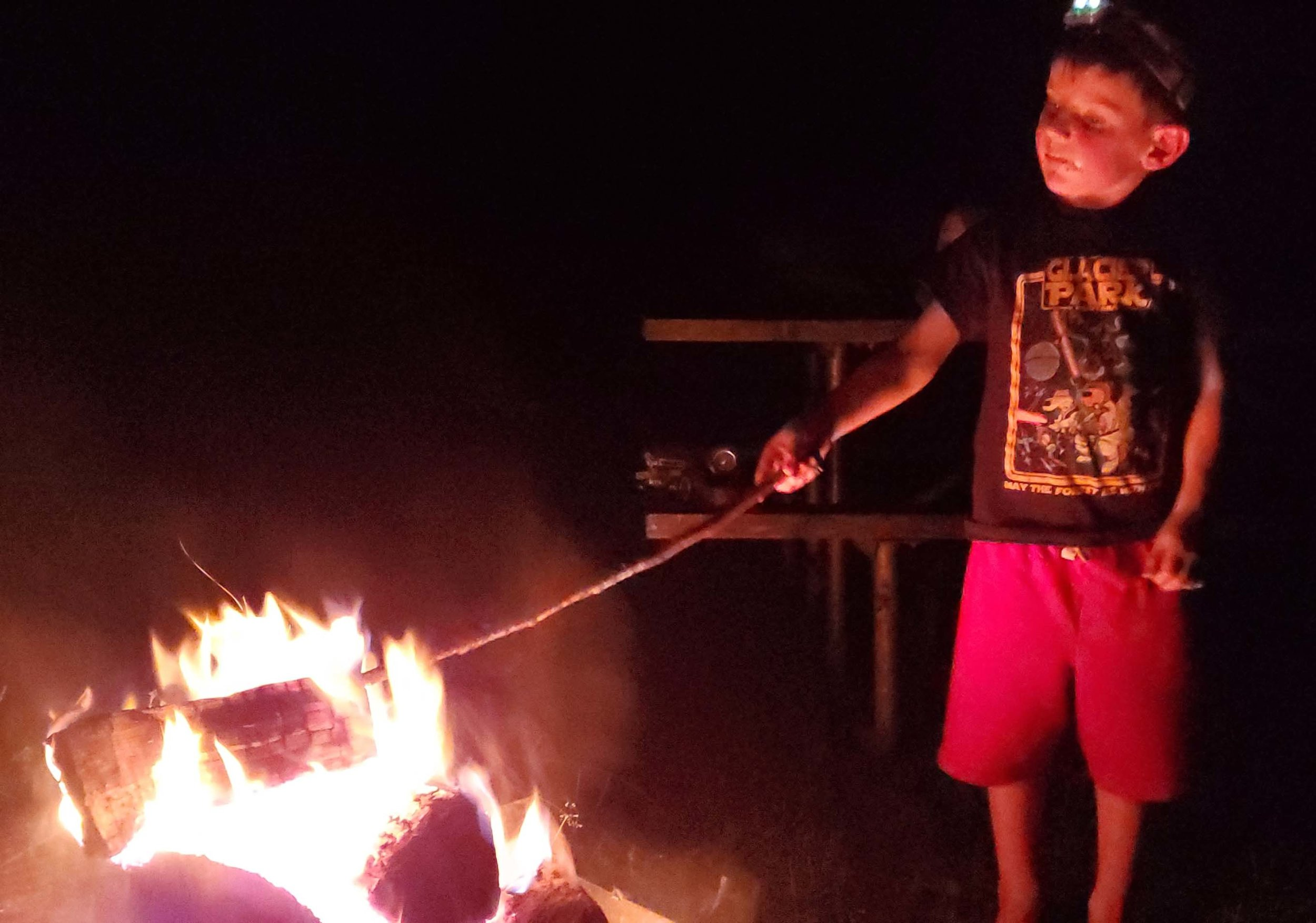 S'mores and a fire - great way to start the trip. Here camping in Bowman Lake State Park in NY