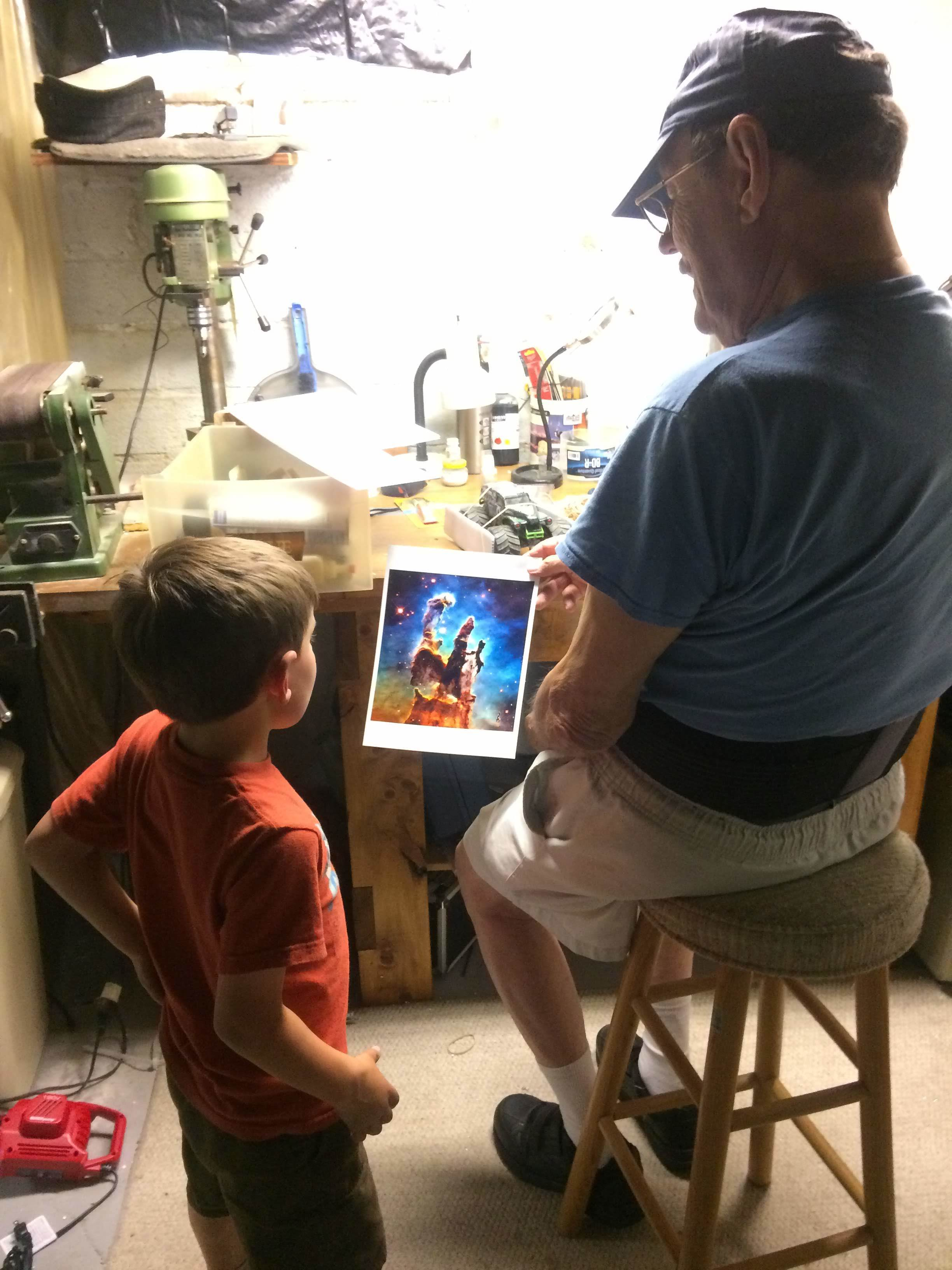 Visit with his dziadziu (Polish for Grandpa) where he give Ollie a photo of something from space. (Ollie now reminded me it is star birth we are looking at)