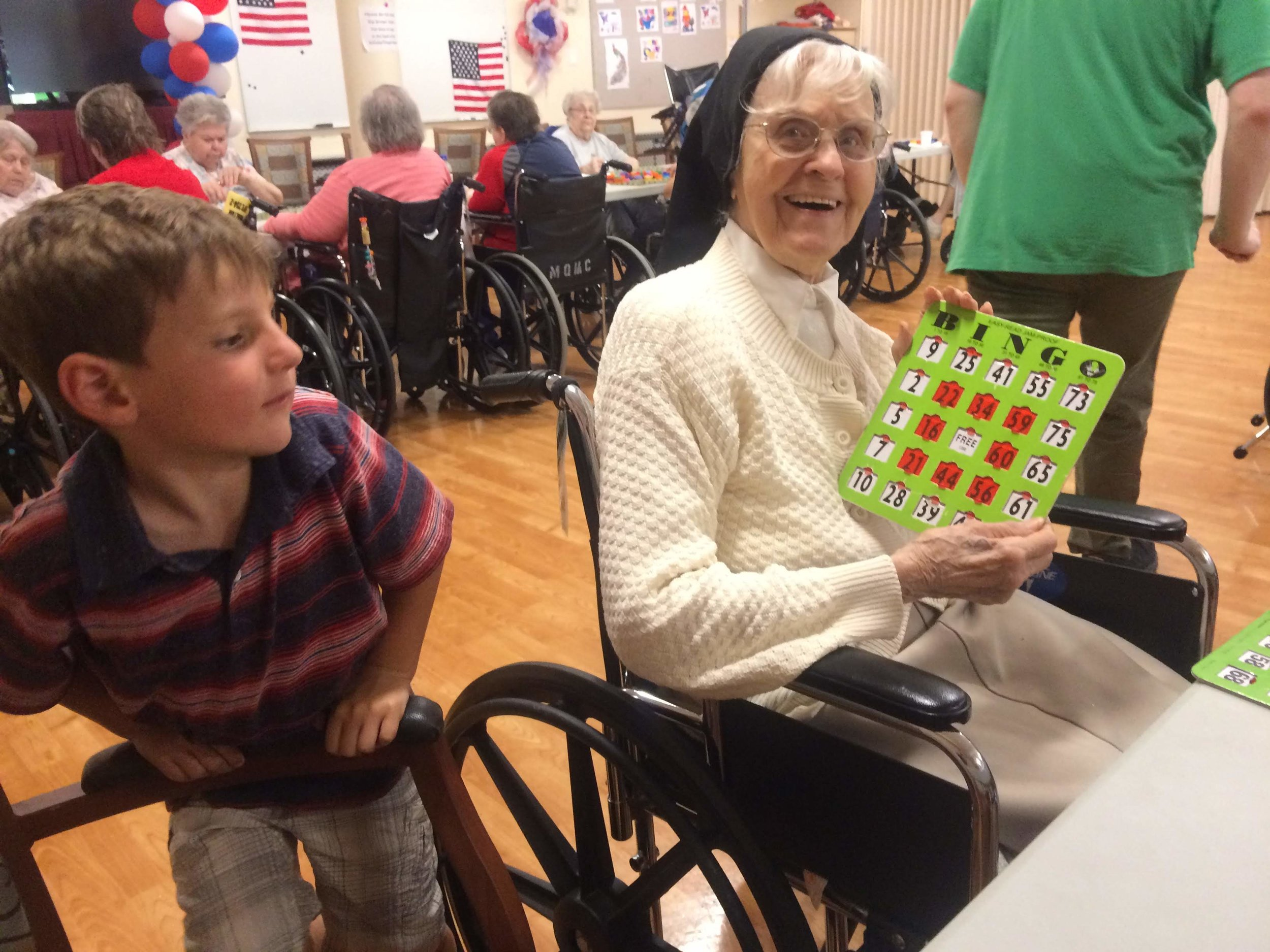 We visited Ollie's great great aunt Sister Xavier who is 102! We played, and WON bingo. Cash prize of $2.