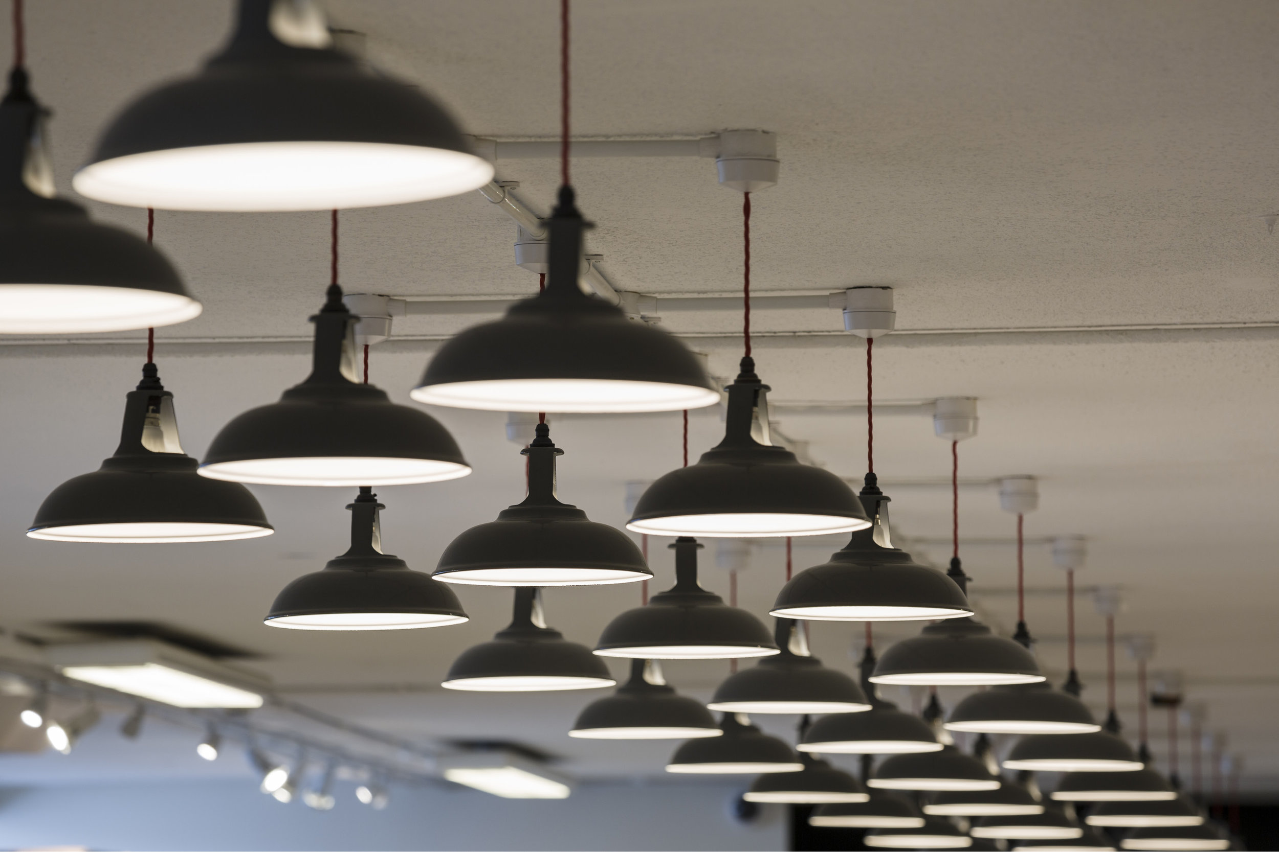 Photograph of Enamelled Lights at Berry Bros. and Rudd (BBR) Warehouse
