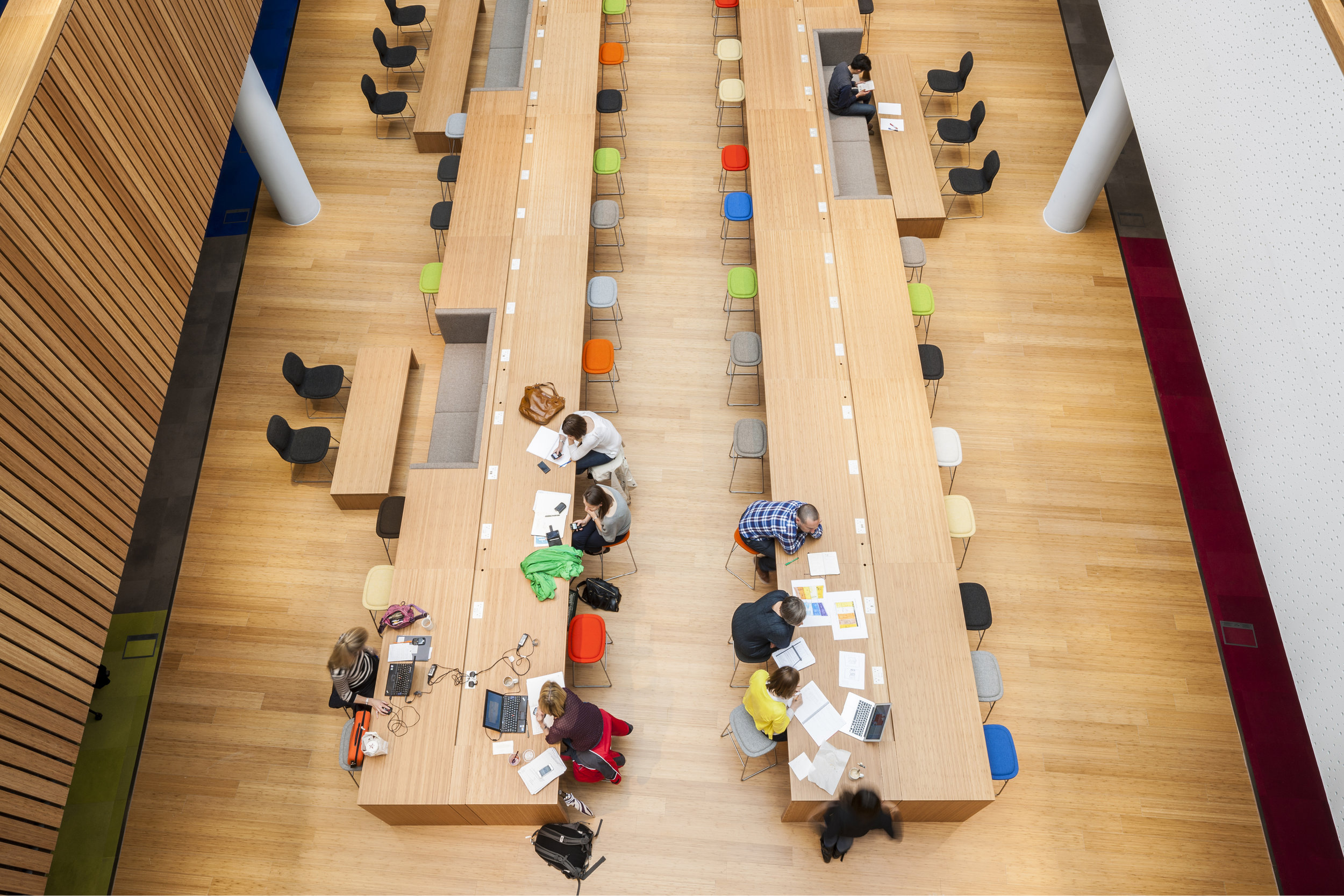 View From Above of Informal Work Space at Bartle Bogle Hegarty (BBH) in London