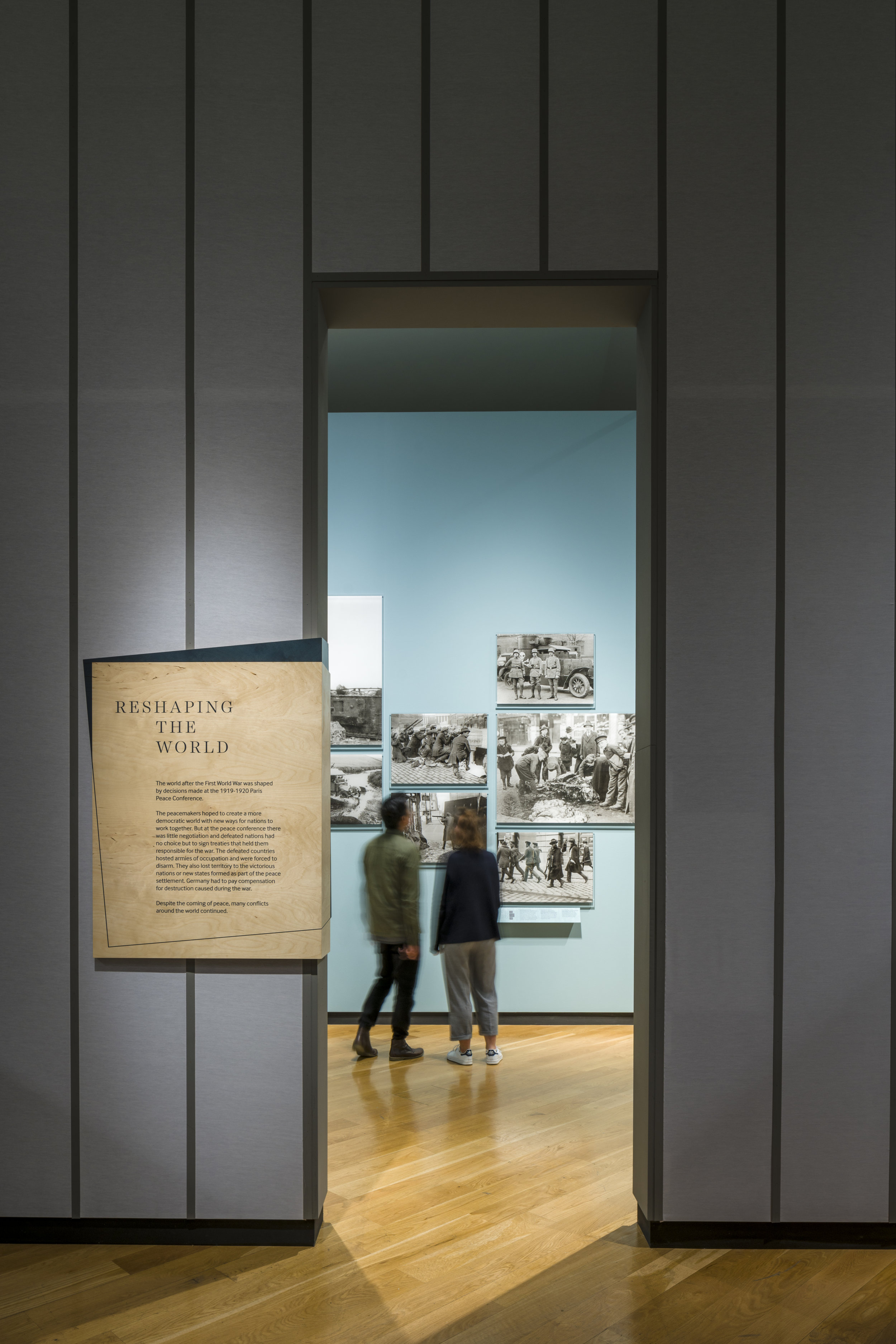 "Photograph of ""Renewal Exhibition"" Looking into ""Reshaping the World"" Room at Imperial War Museum London"