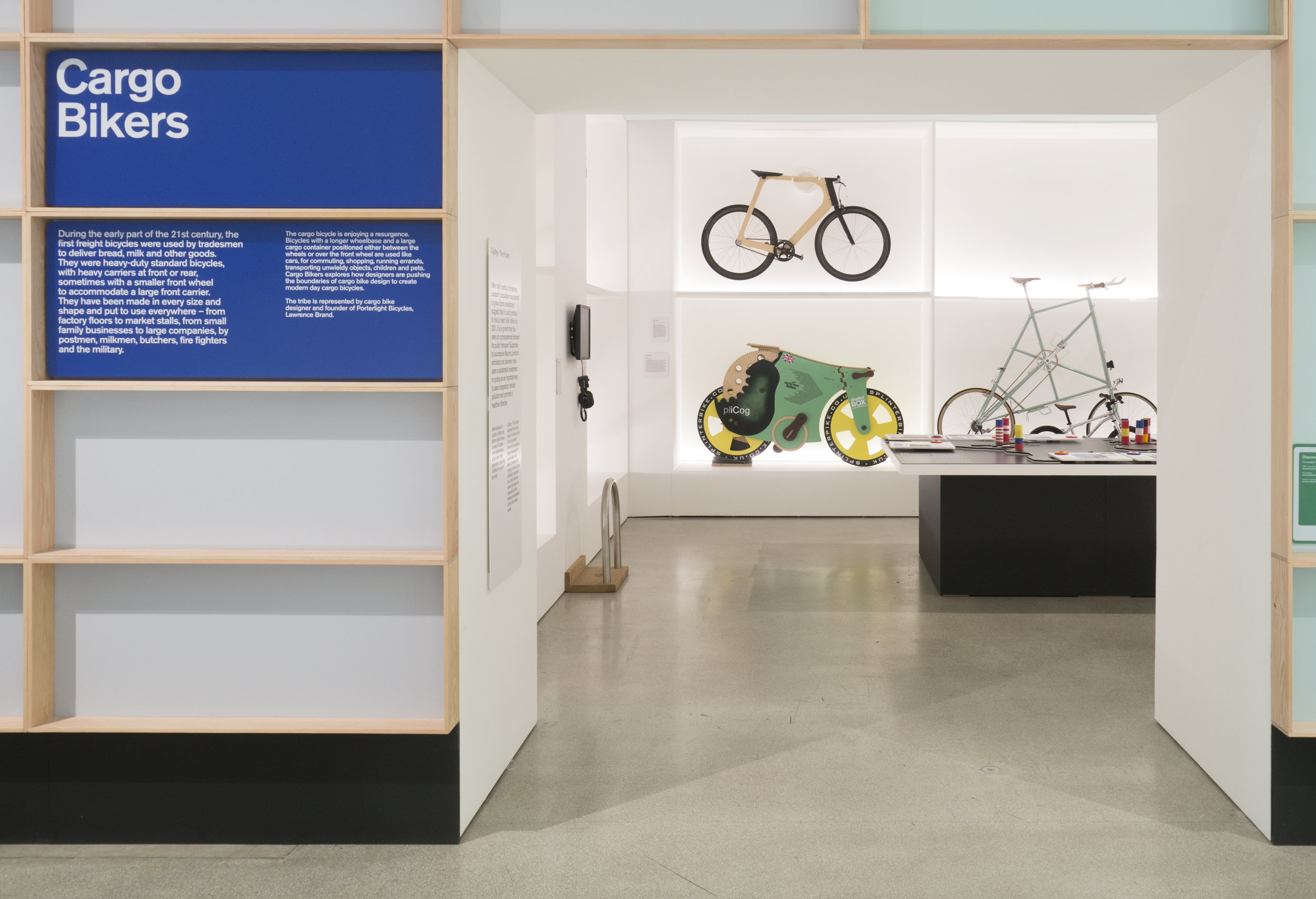 "Photograph Looking into the ""Cargo Bikers"" Section at the Design Museum's ""Cycle Revolution"" Exhibition"