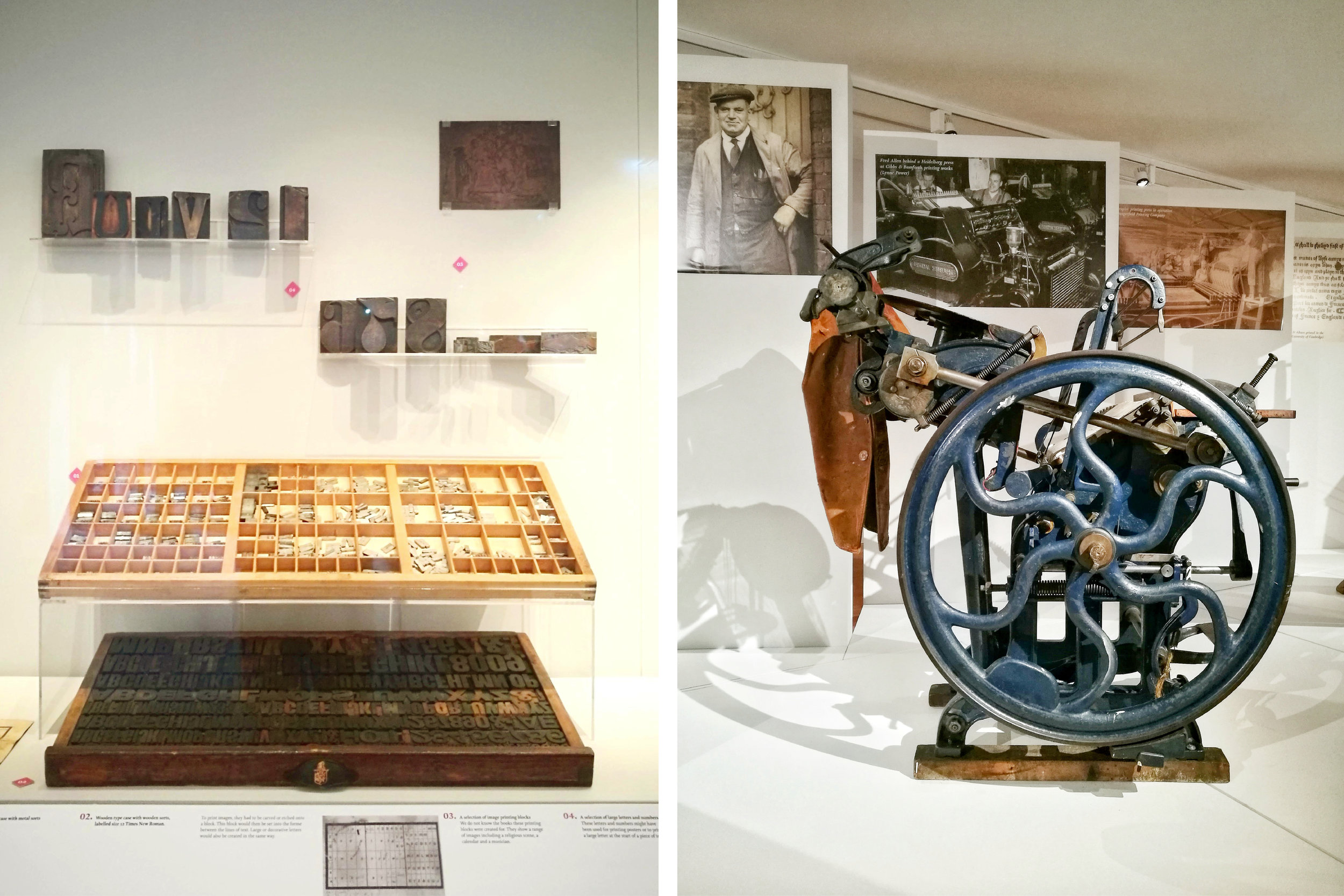 Photograph of Printing Presses in First Impressions Exhibition at St Albans Museum and Gallery