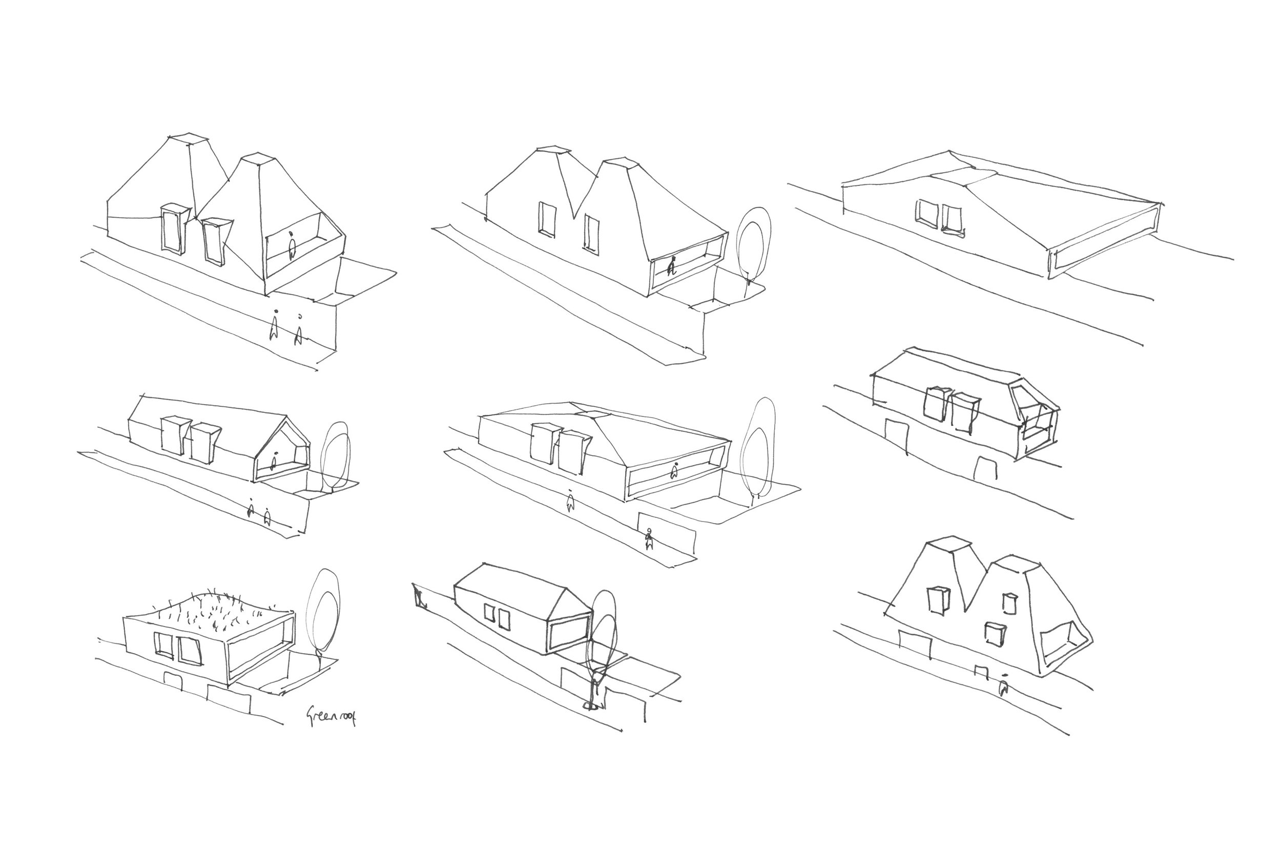 Concept Sketches for House Types of Social Housing Development in Hackney