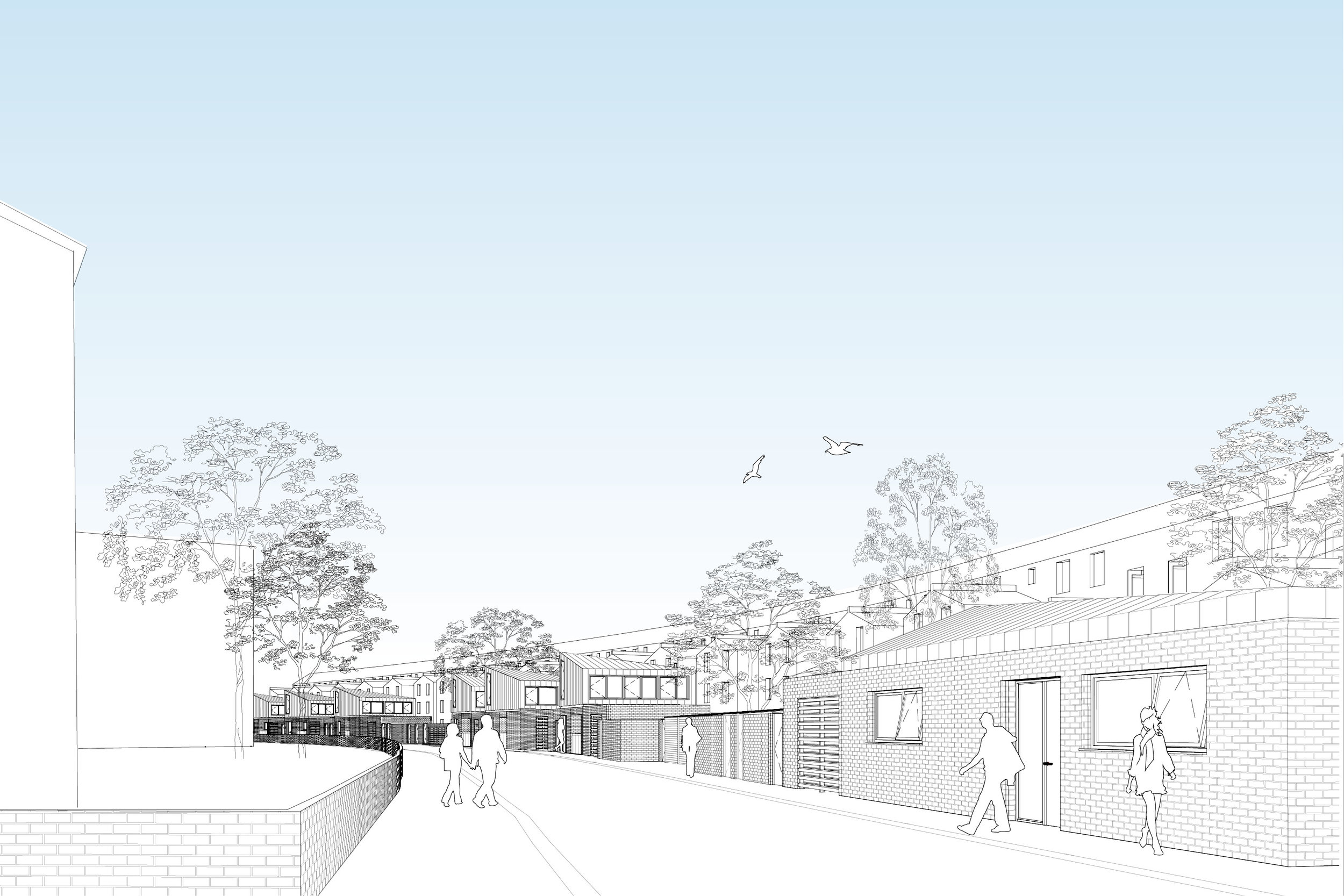 Visual of Streetscape at Social Housing Development in Hackney