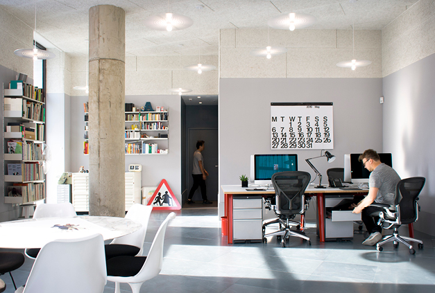 Generous ceiling heights and daylight at NB Studio in St George's Circus development.