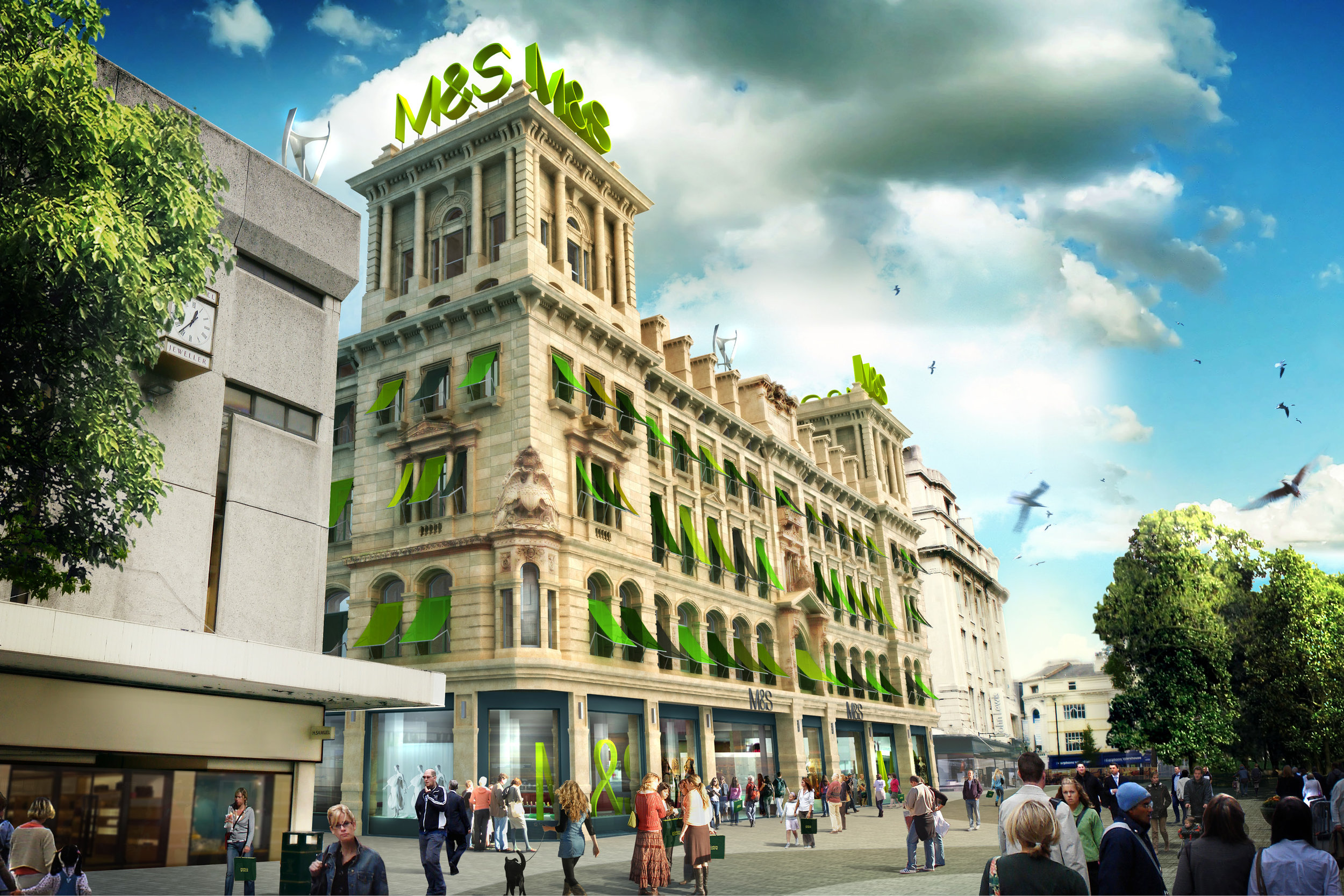 Visual of Marks and Spencer (M&S) Property Strategy Retro Fit of Classic High Street Store