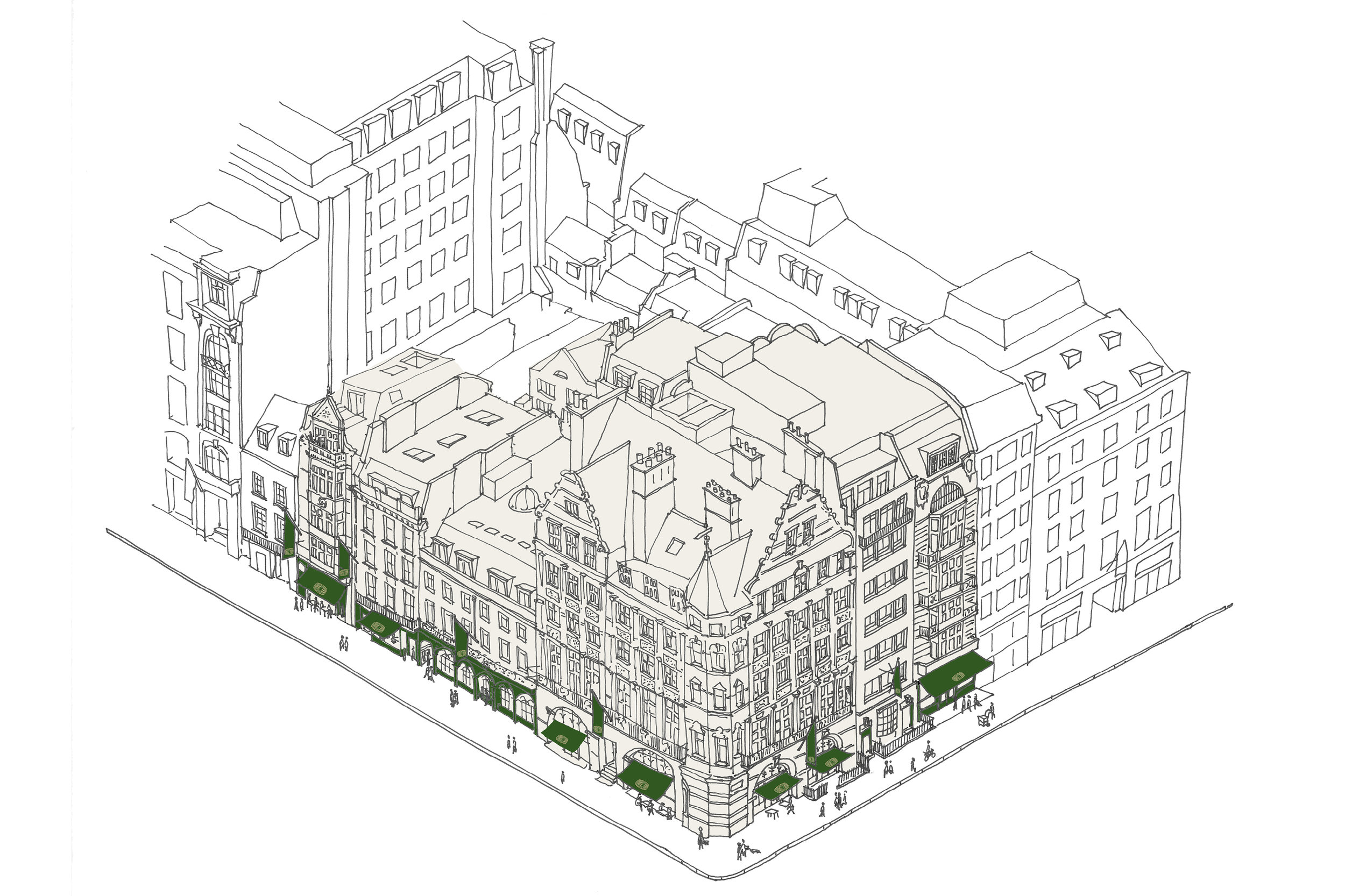 Sketch of Berry Bros. and Rudd Concept Property Strategy on the Corner of St James's and Pall Mall