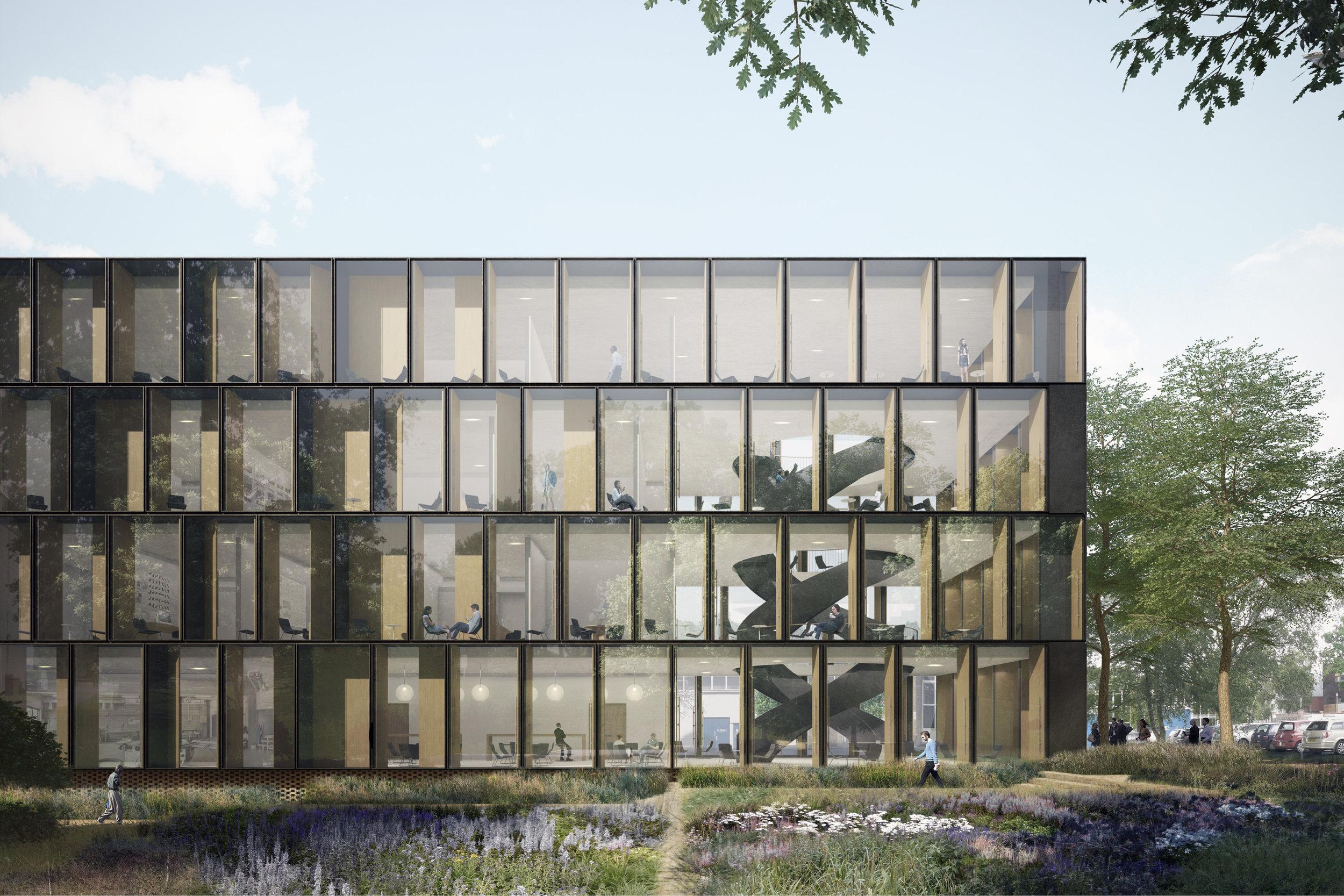 Render of Open Innovation Hub for Building Research Establishment (BRE)