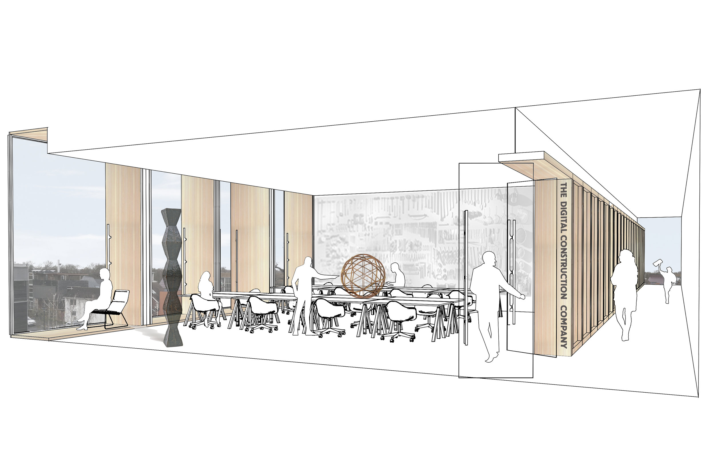Interior Concept for Open Innovation Hub by Mowat and Company