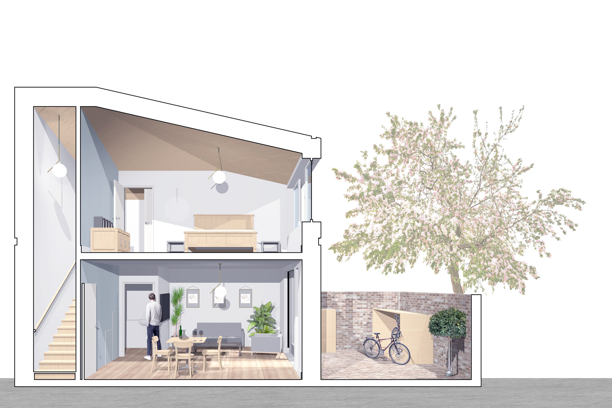 Concept Visual of Residential House Type for Social Housing Development for Peabody