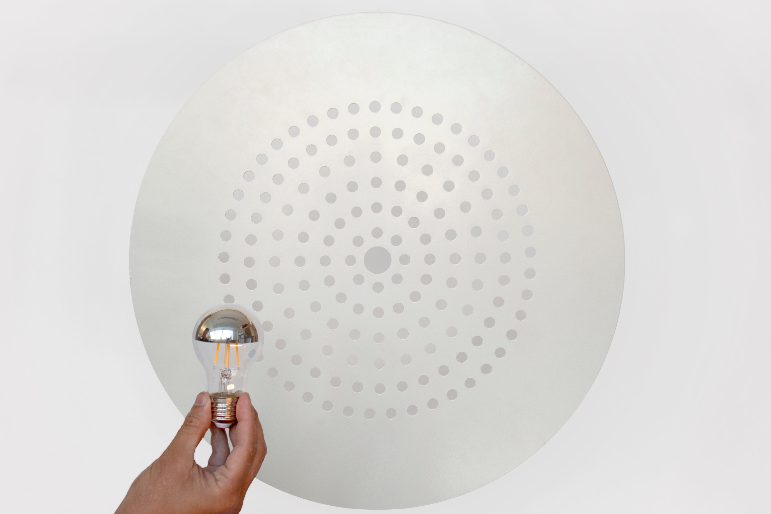 White Circular Pendant Light with Crown Silver Product Design