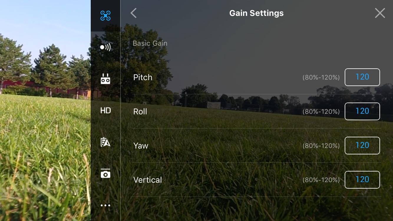 Drone Settings-->Advanced Settings-->Gain Settings