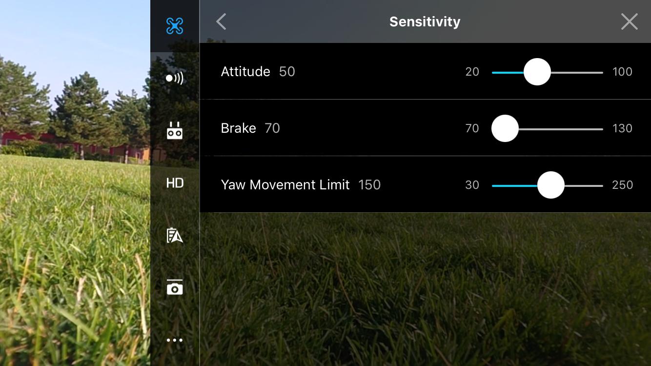 Drone Settings-->Advanced Settings-->Sensitivity