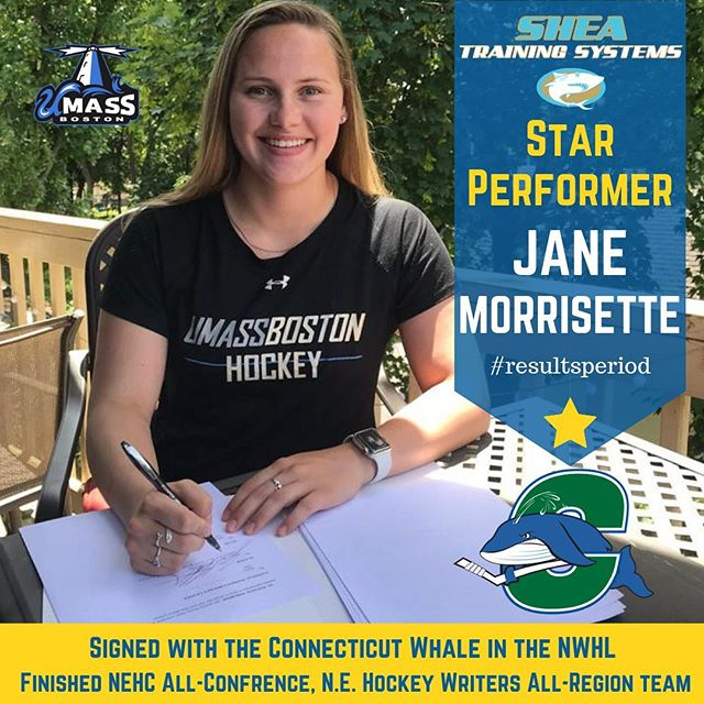 Congrats to Pembroke's own Jane Morrisette who finished a stellar college career at UMass Boston and has now signed a contract to play professional hockey with the Connecticut Whale of the NWHL. The last two years, Jane has led her team with 18 points a season, and was 3rd in the nation in shorthanded goals and 5th in the nation with game winning goals. Jane finished as a 2-time NEHC All-Conference winner as well as only being the 3rd person in UMass Boston history to be named All-Region by the New England Hockey Writers Association. Hard worker, awesome to see Jane do so well!! We've been lucky enough to train with Jane every summer for years and are super happy to see her take her talents to the highest level!! #resultsperiod #hockey #boston @umassbeacons @connecticutwhale @nwhl.zone