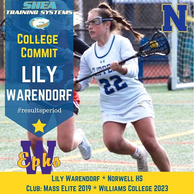 A belated Congratulations to Norwell High's Lily Warendorf who committed to Williams before the spring lacrosse season. Lily was a hockey-lacrosse-soccer athlete who won State Championships in TWO different sports. This award-winning athlete will be taking her skills and brains out to the NESCAC for the next 4 years at Williams College in Western Mass. That and Amherst are the two most selective schools in the Nation, and the level of lacrosse is quite high in the NESCAC. Looking forward to seeing what Lily can do at the next level and having a reason to train hard for the next few summers. #resultsperiod #trainsmarter #lacrosse