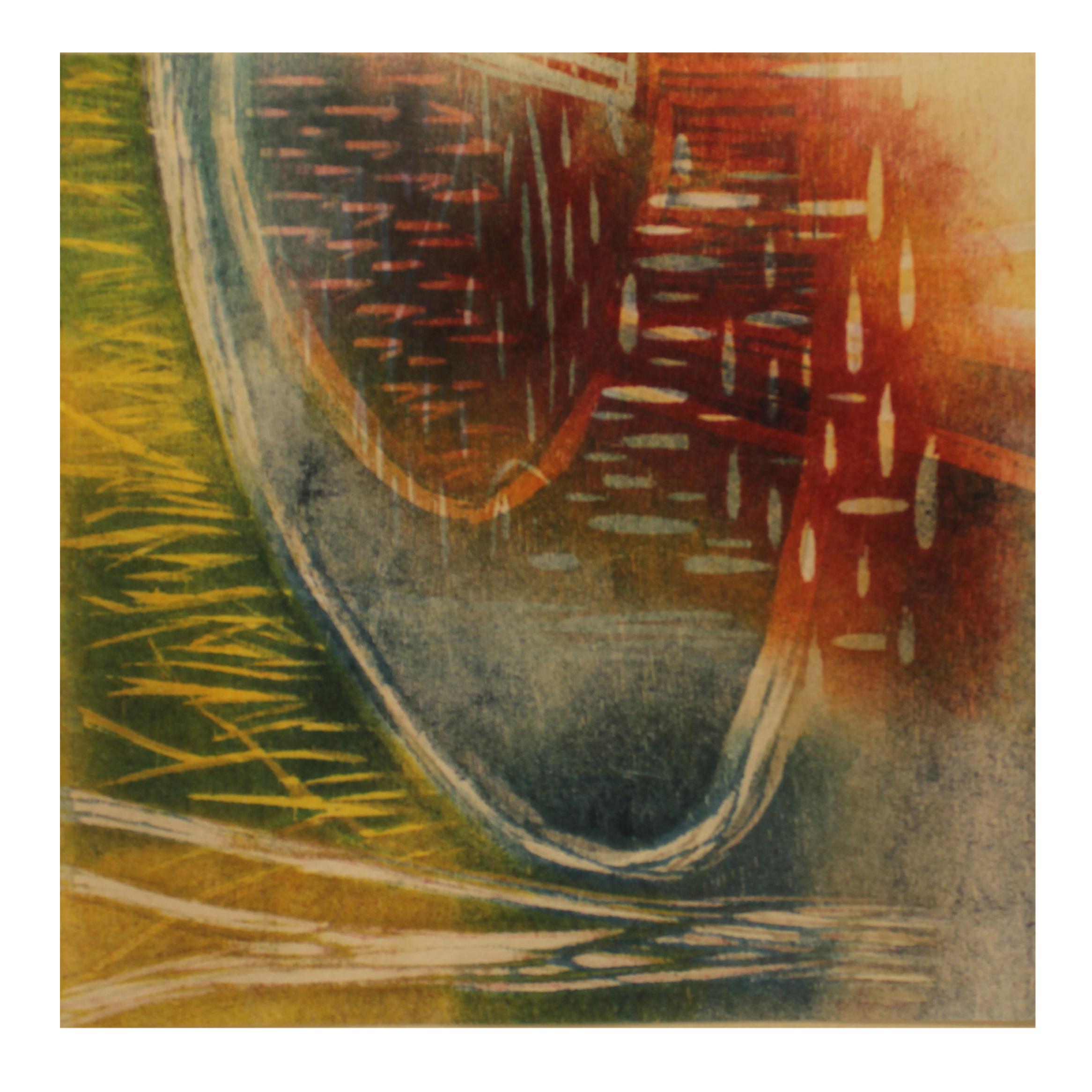 Liz Menard, August Pond, 2015, reduction woodcut