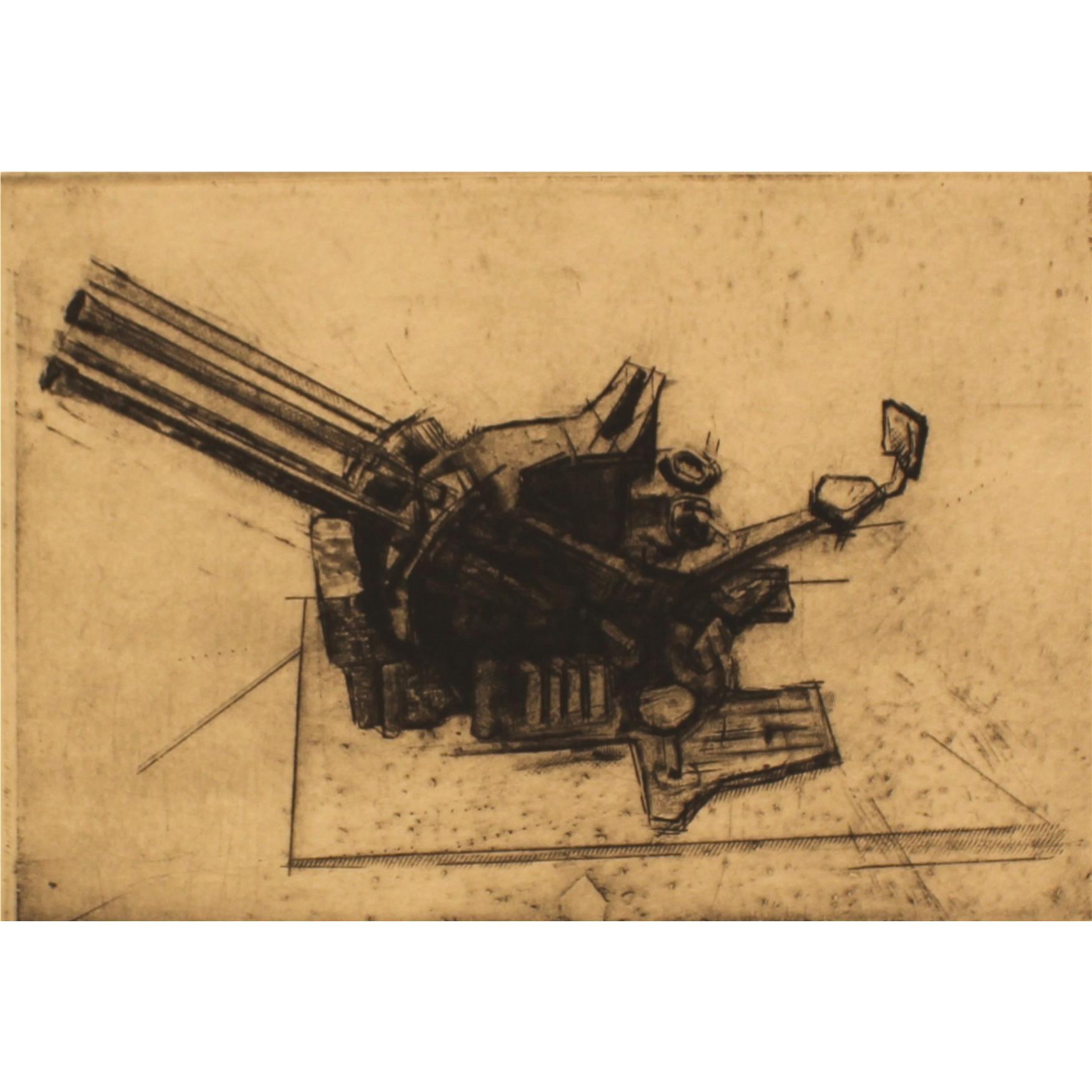 Todd Tremeer, Flak Gun, 2016, engraving & etching