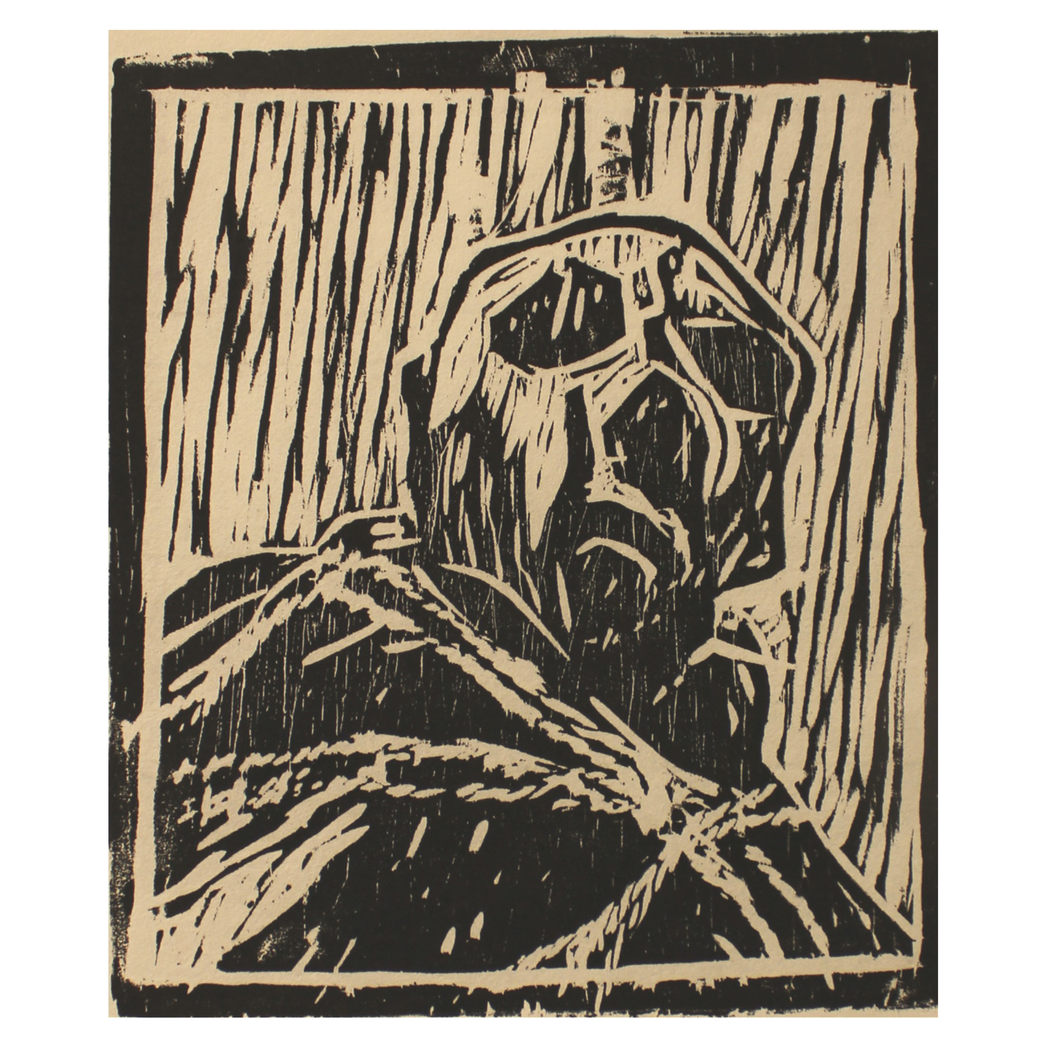 Roger Sutcliffe, The Damned, 2015, woodcut, hand printed Mulberry paper