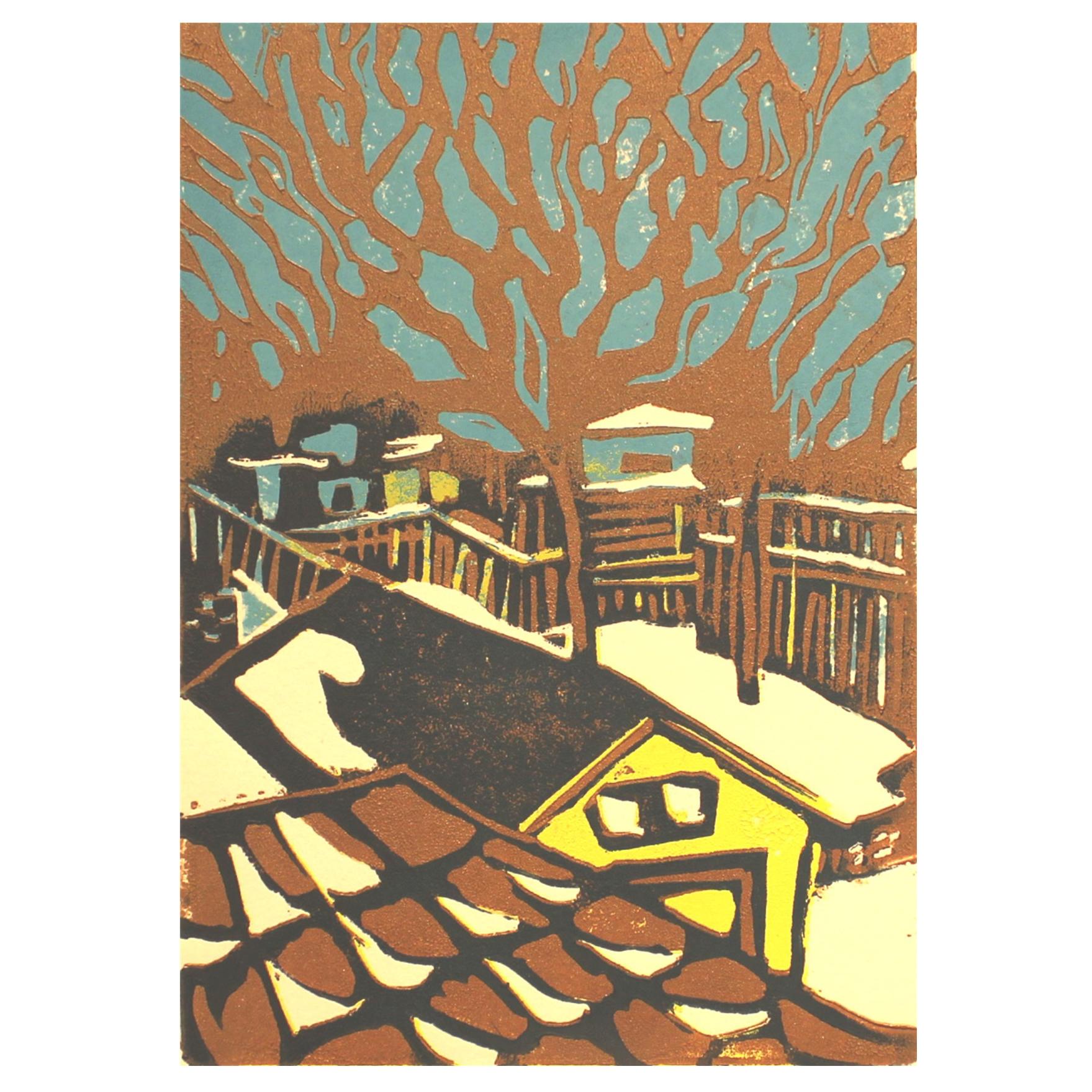 Brenda Fuhrman, Winter Yard, 2016, linocut