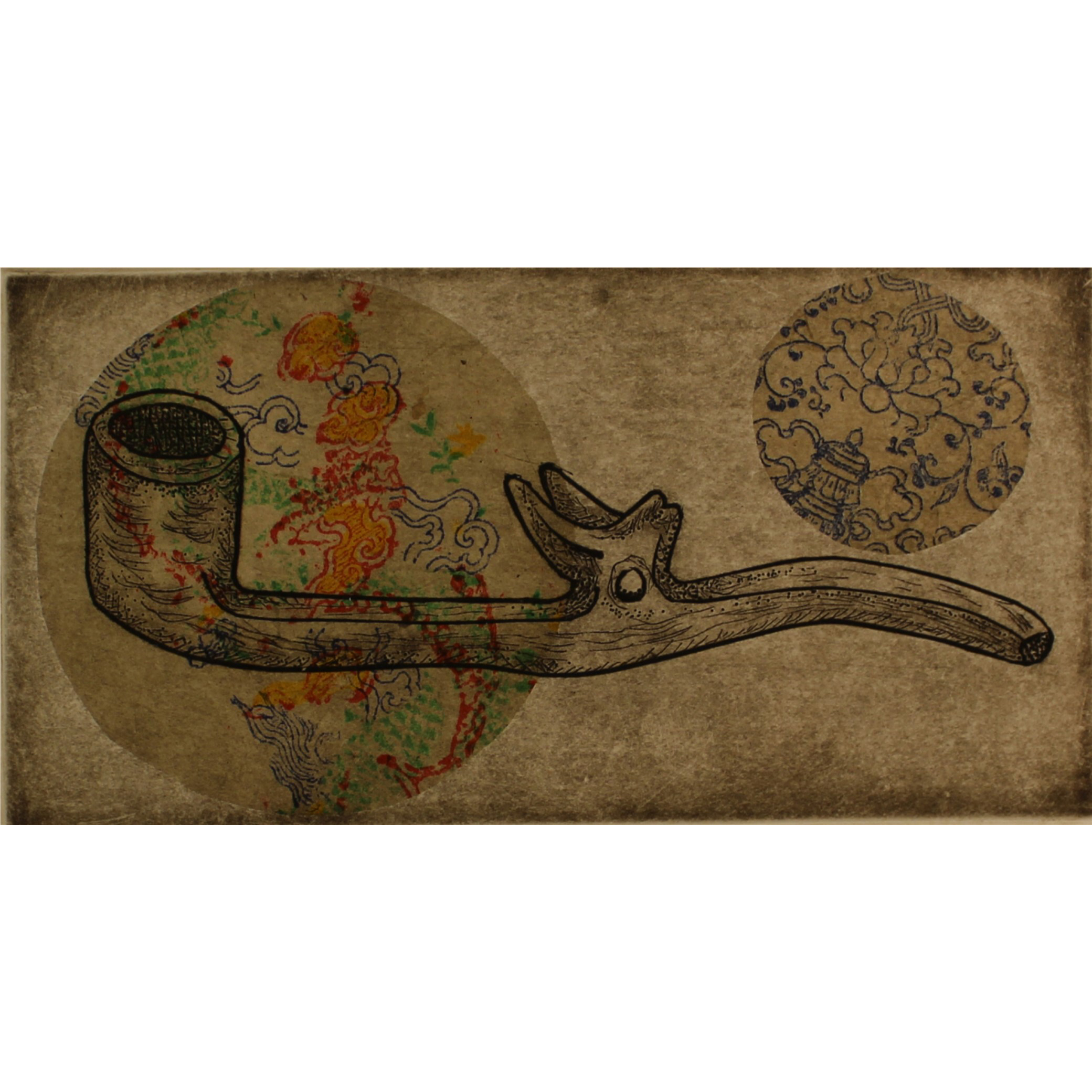 Lorna Livey, Telling Stories – Mexican Pipe, 2016, engraving, drypoint, colle