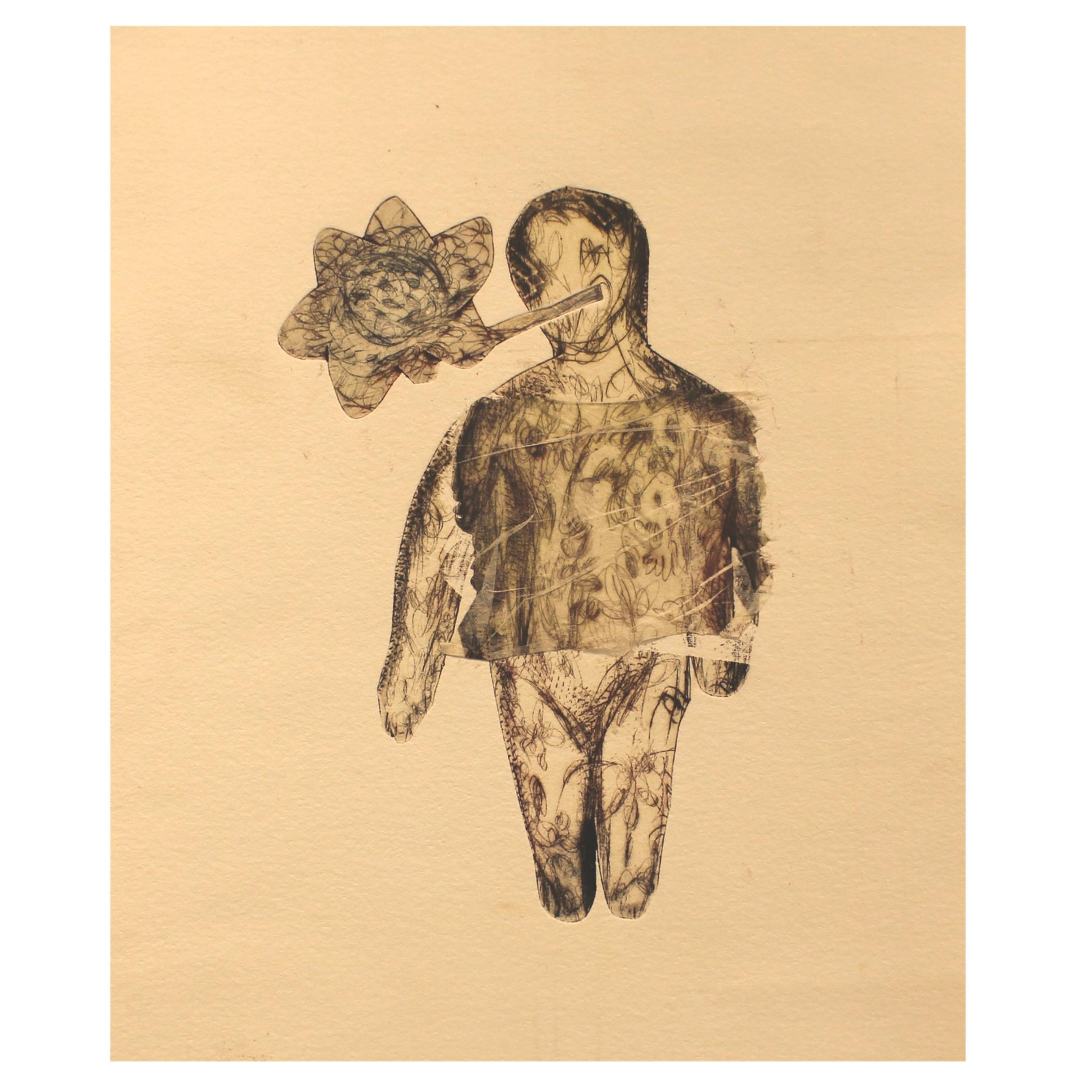 Irina Schestakowich, Nature Baby, 2016, monotype, chine colle