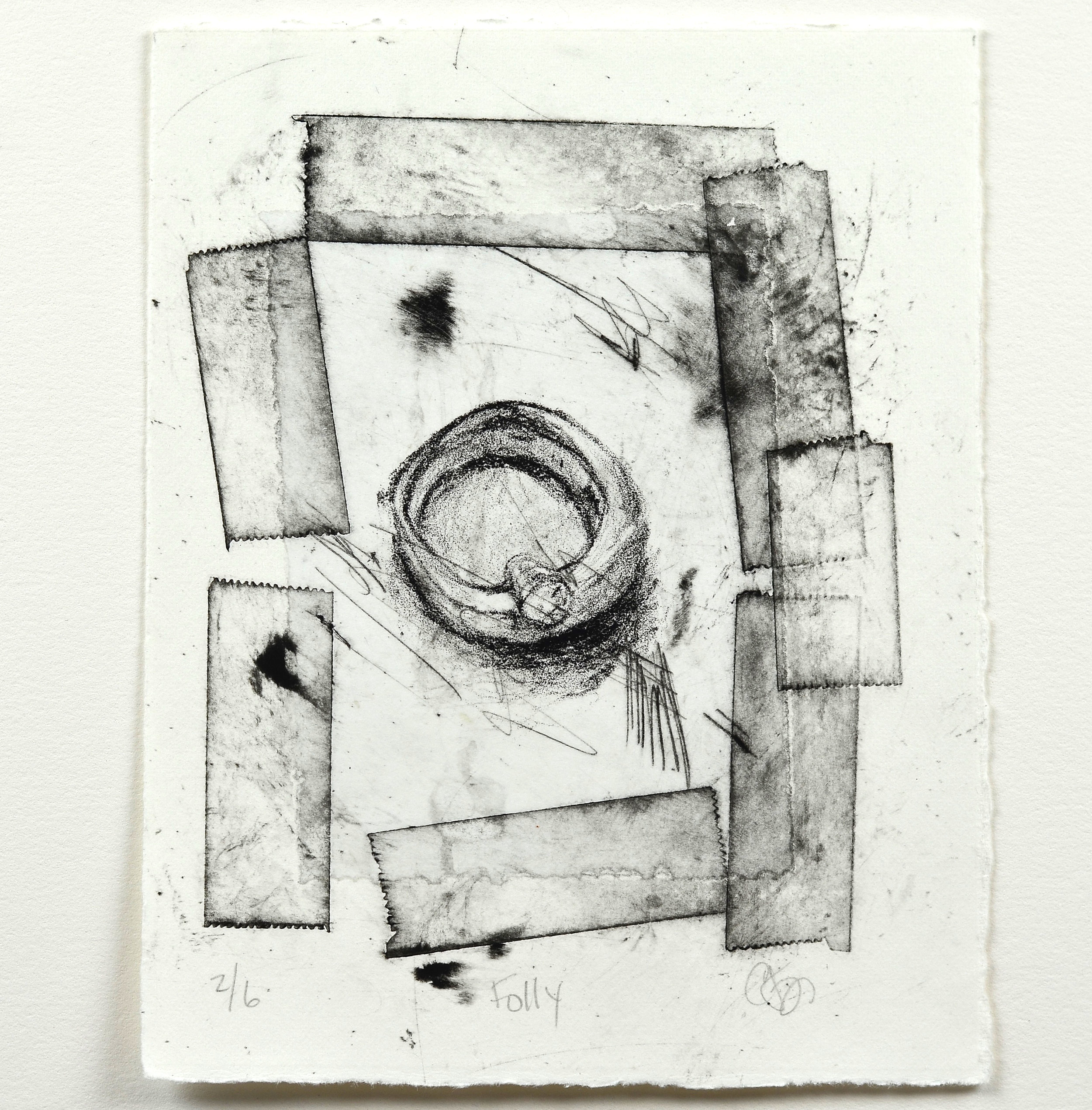Christine Fry    Folly   Lithograph, chine colle, collagraph