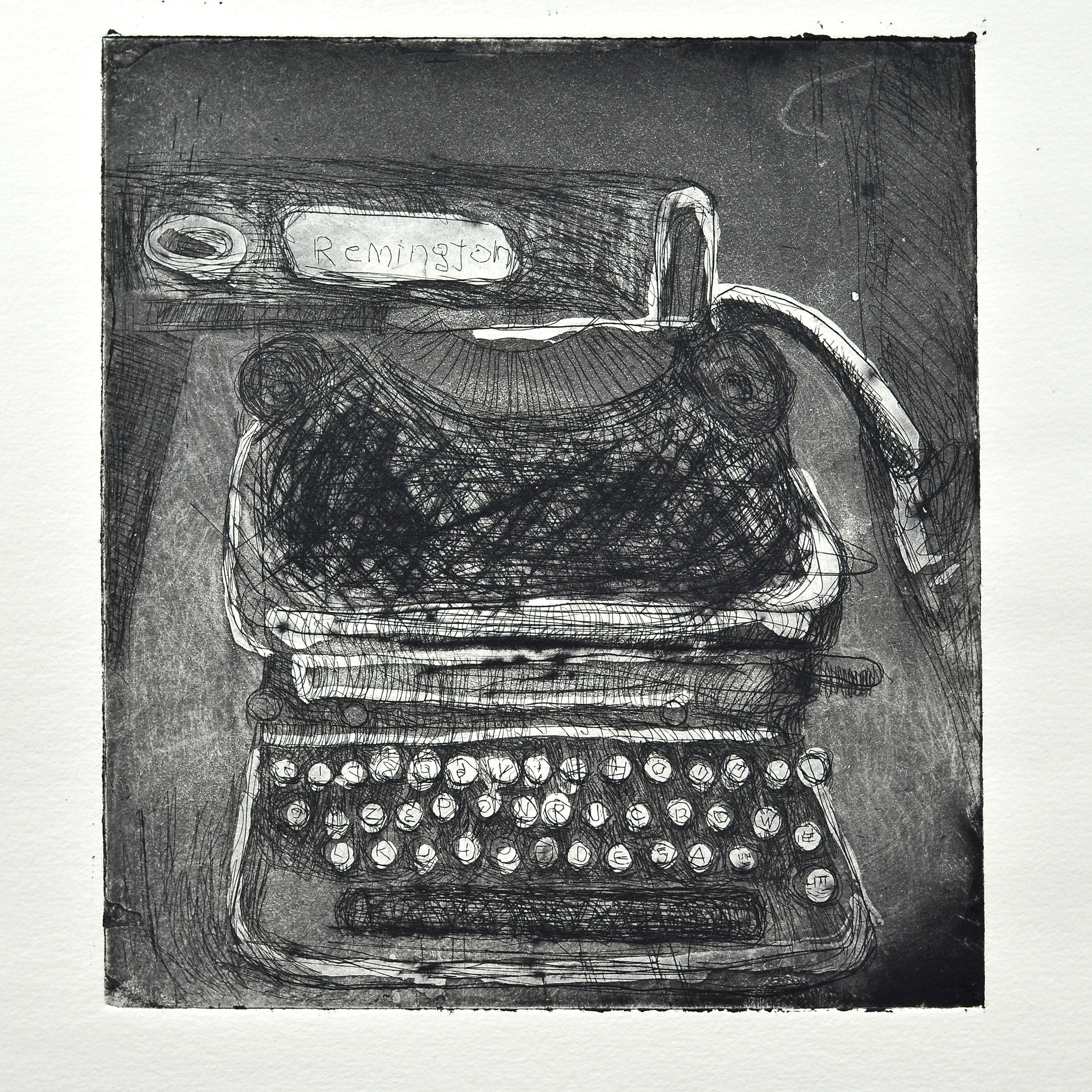 Isabelle MichaudI    Machine a ecrire   Copper etching