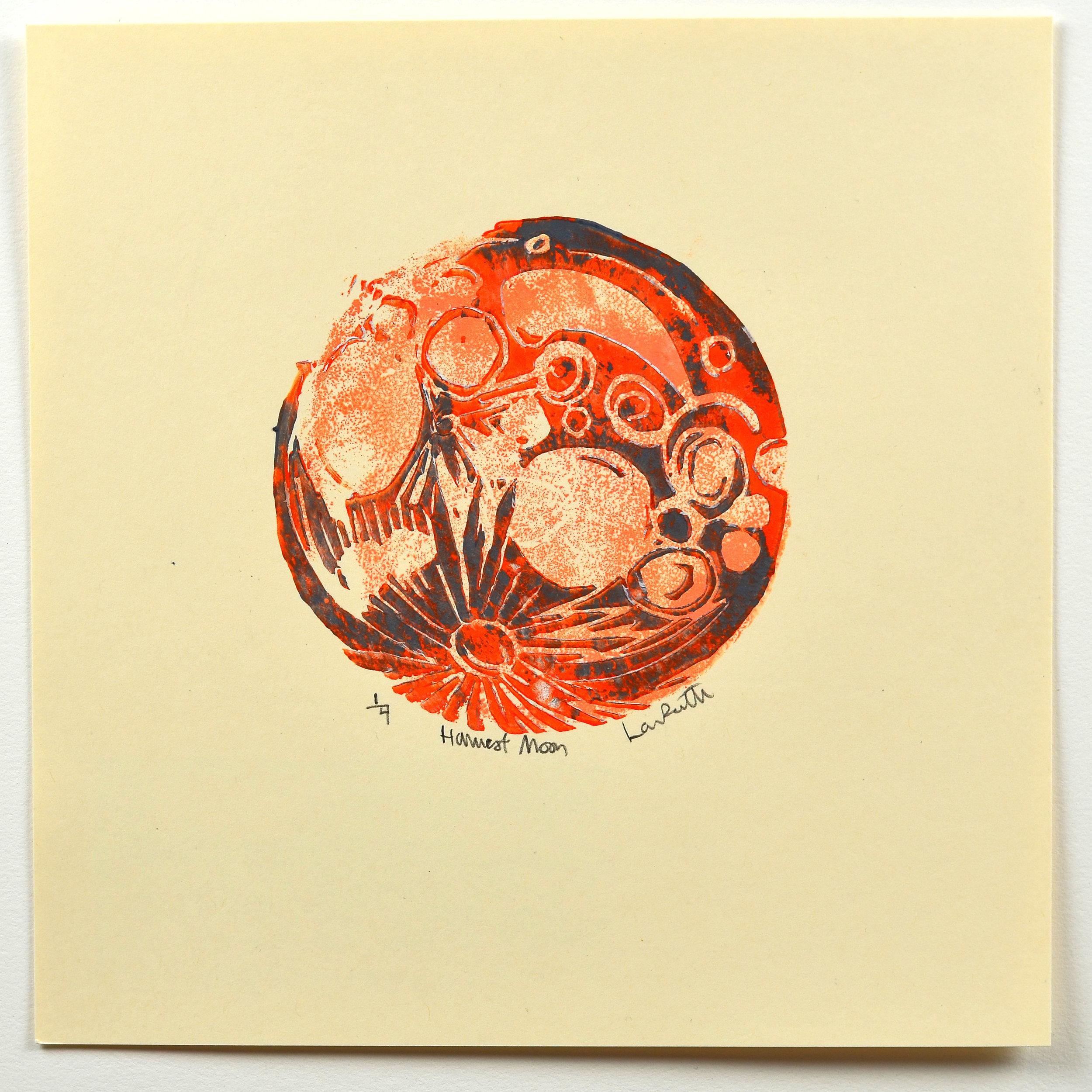 Lauren Renzetti    Harvest Moon Quarter   Relief, lino