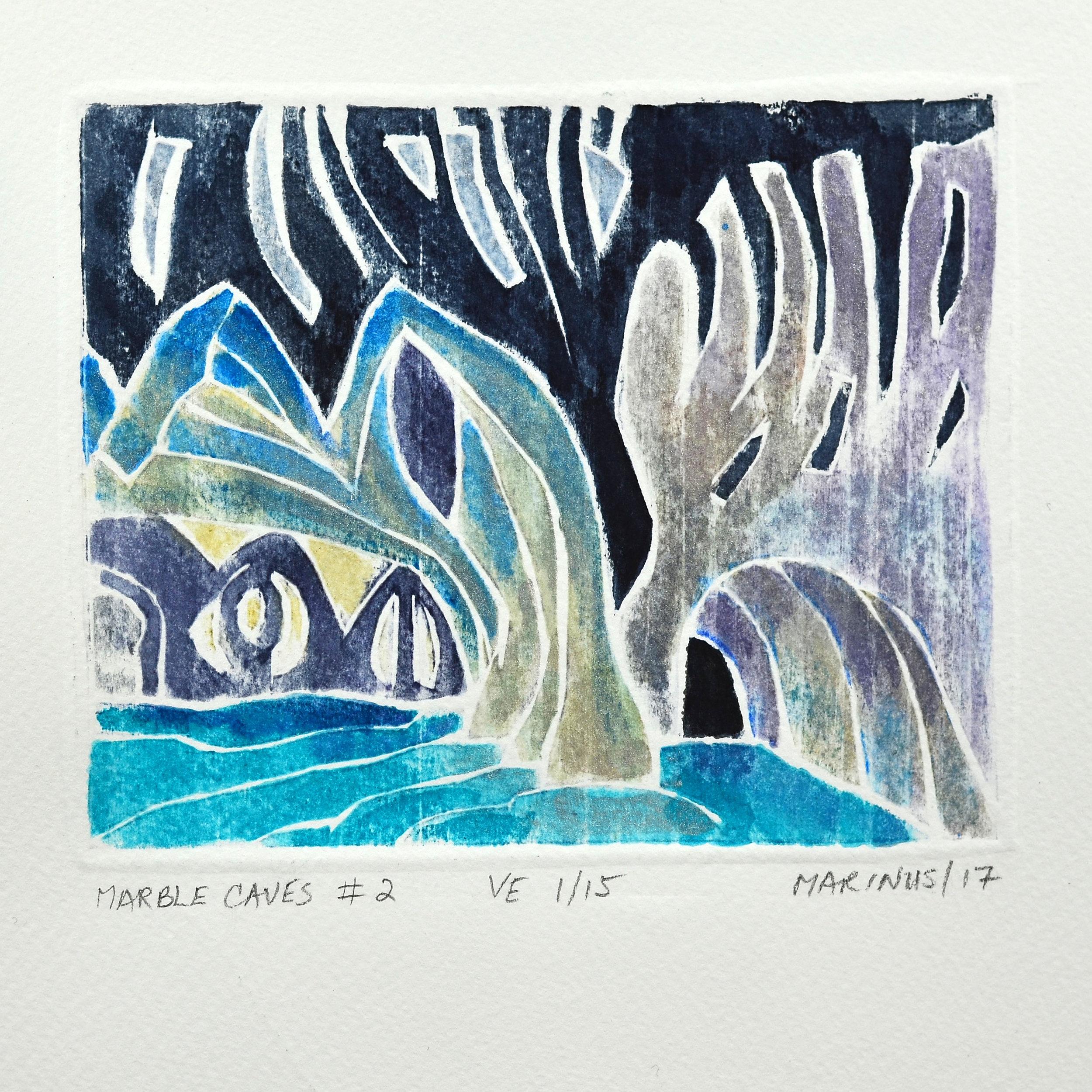 Anthony Vander Voet     Marble Caves #2   w/c woodblock