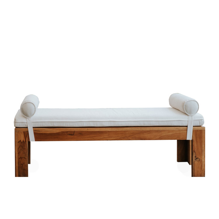 Teak Bench with Bolsters
