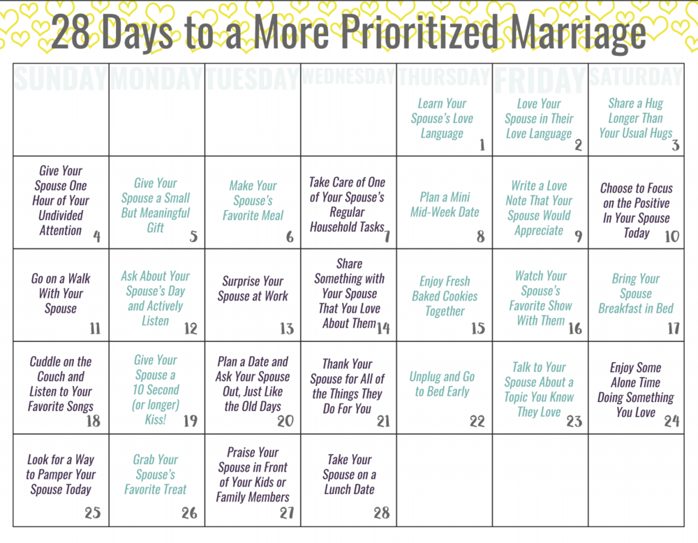 A Prioritized Marriage February Challenge