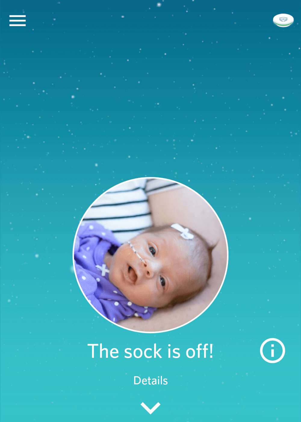 If the sock falls off or it's having trouble getting a reading, the monitor is designed to notify you with a song. It's an extra set of eyes, to help you be notified when your baby needs you most.