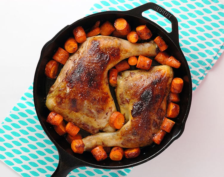Jam and Butter Roasted Chicken with Carrots